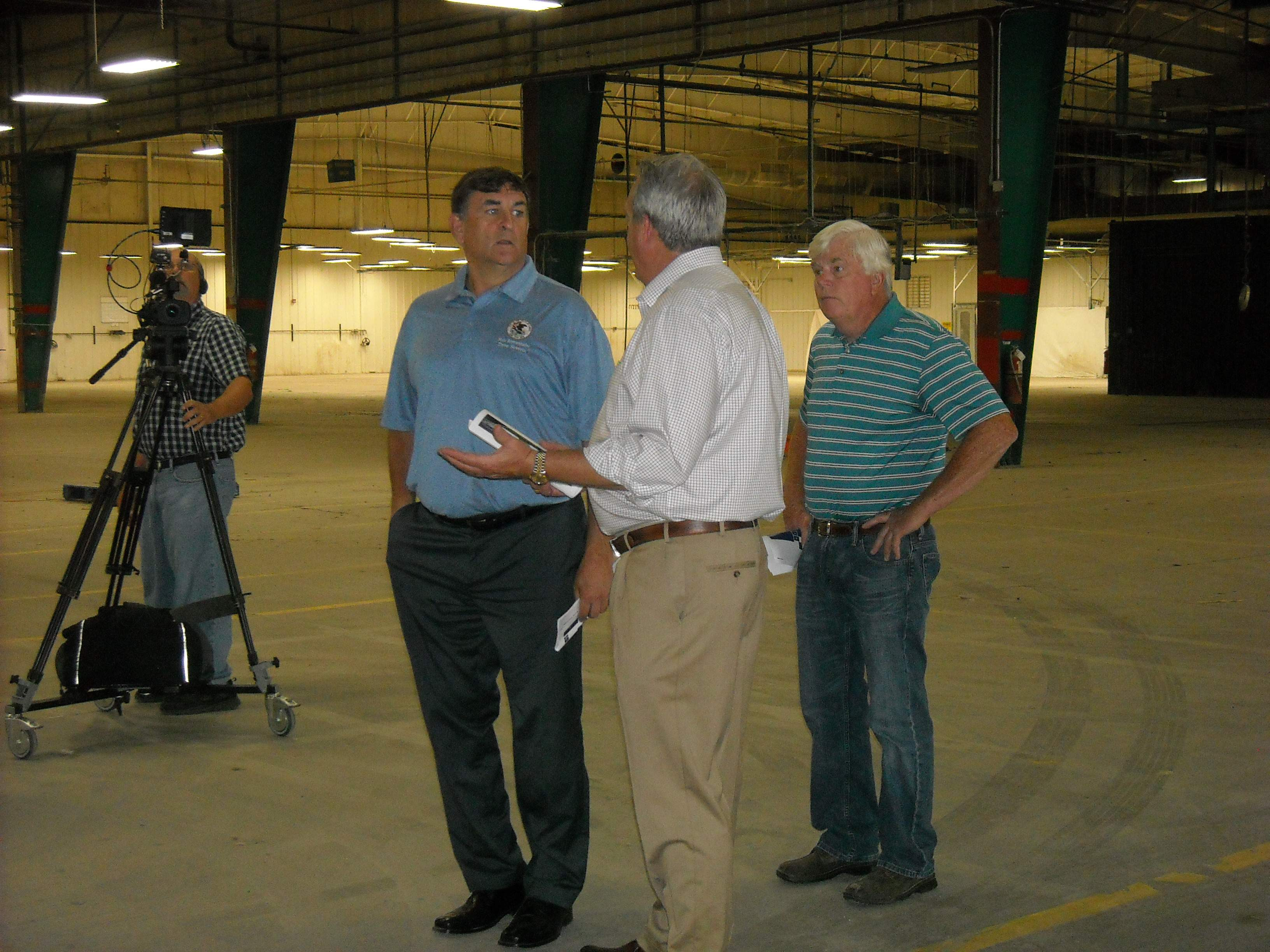 State legislators Dave Severin (R-Benton) and Dale Fowler (R-Harrisburg), along with Franklin County Board Chairman Randall Crocker, were among the tour participants Tuesday at the former Bombardier boat factory in Benton. Local officials are marketing the nearly 400,000-square-foot facility for job growth.