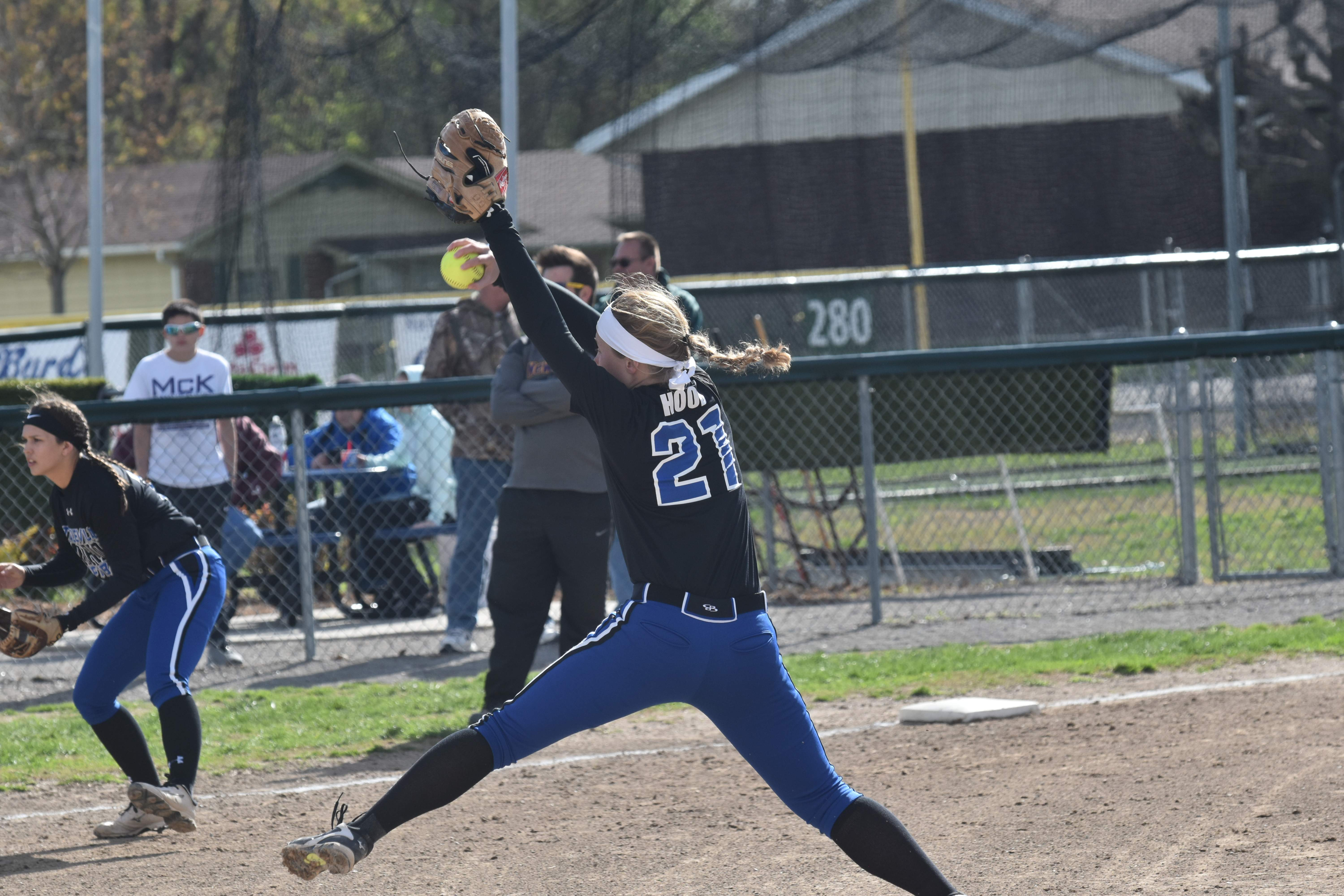 Steeleville juniors Sydney Hood and Lexi Middendorf were recently selected to the All-South softball team by the Southern Illinois Coaches Association. Pictured is Hood throwing a pitch for the Lady Warriors last season.