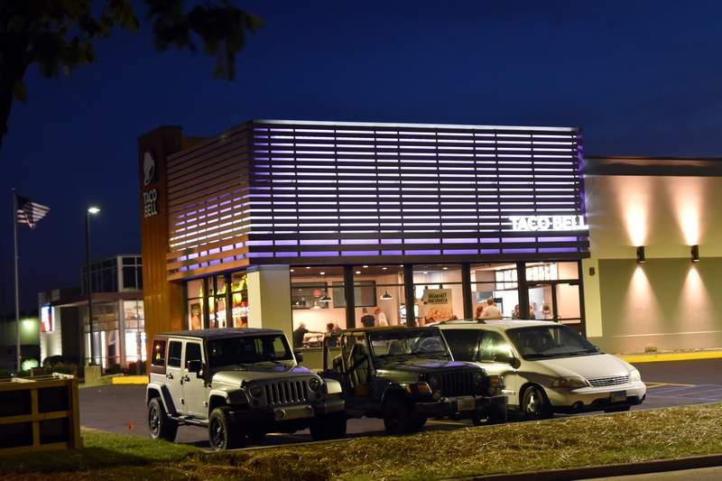 The new Taco Bell in Chester's Camptown section at the corner of Route 150/State Street and Dixie Drive is shown on Tuesday night.