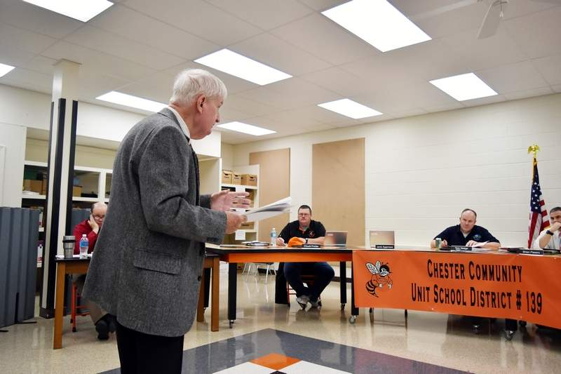 Auditor Bob Moore speaks to members of the Chester District 139 Board of Education on Tuesday. The district appears headed toward another deficit reduction plan for this fiscal year.