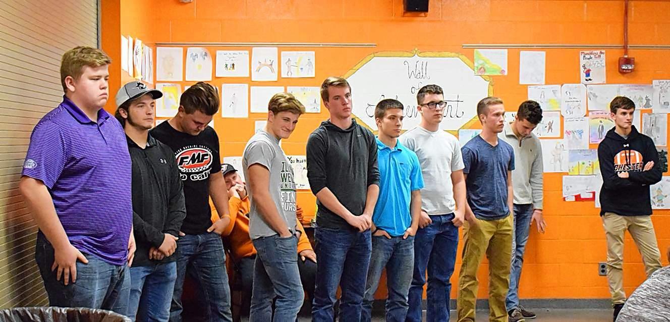 Pictured are Chester seniors, from left, Garrett Welker, Brady Kelkhoff, Wyatt Roth, Nick Heffernan, Curt Meyer, Jack Hathaway, Alex Hamilton, Mason Westerman, Clayton Richelman and Calvin Clendenin.