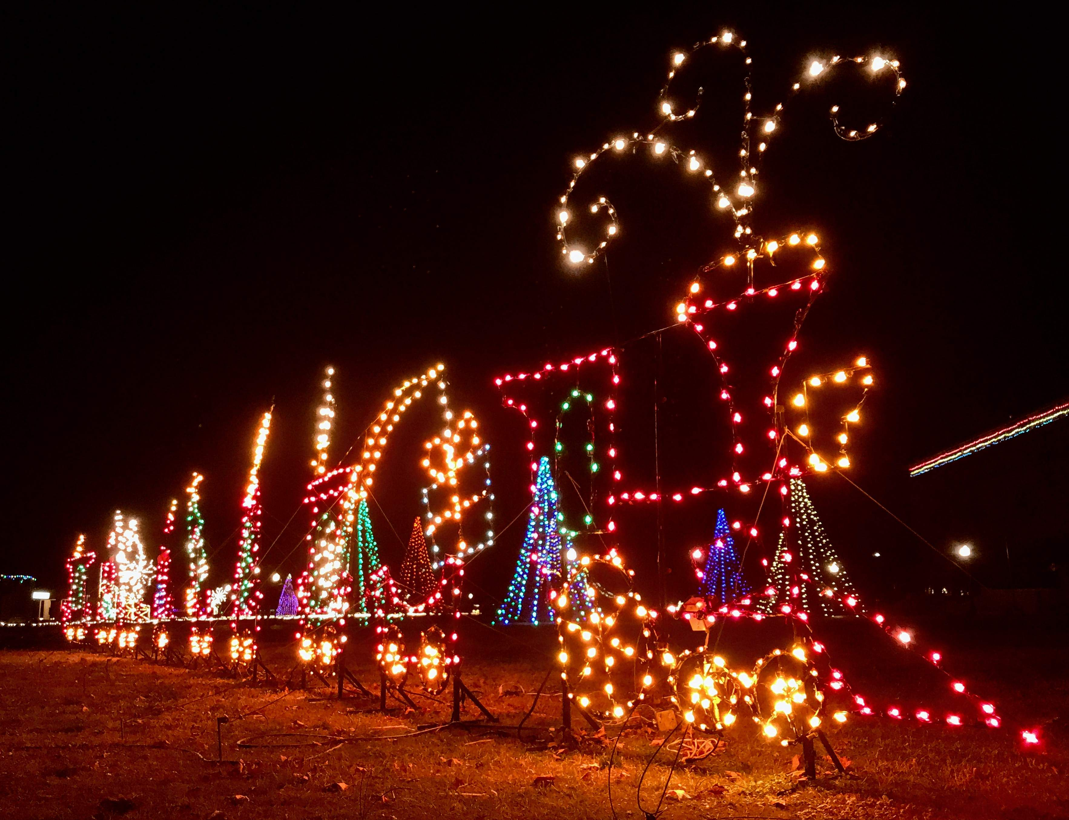 This train puts on a flashy show near the grandstand at the fairgrounds. Admission to the holiday lights spectacular is $10 per vehicle.