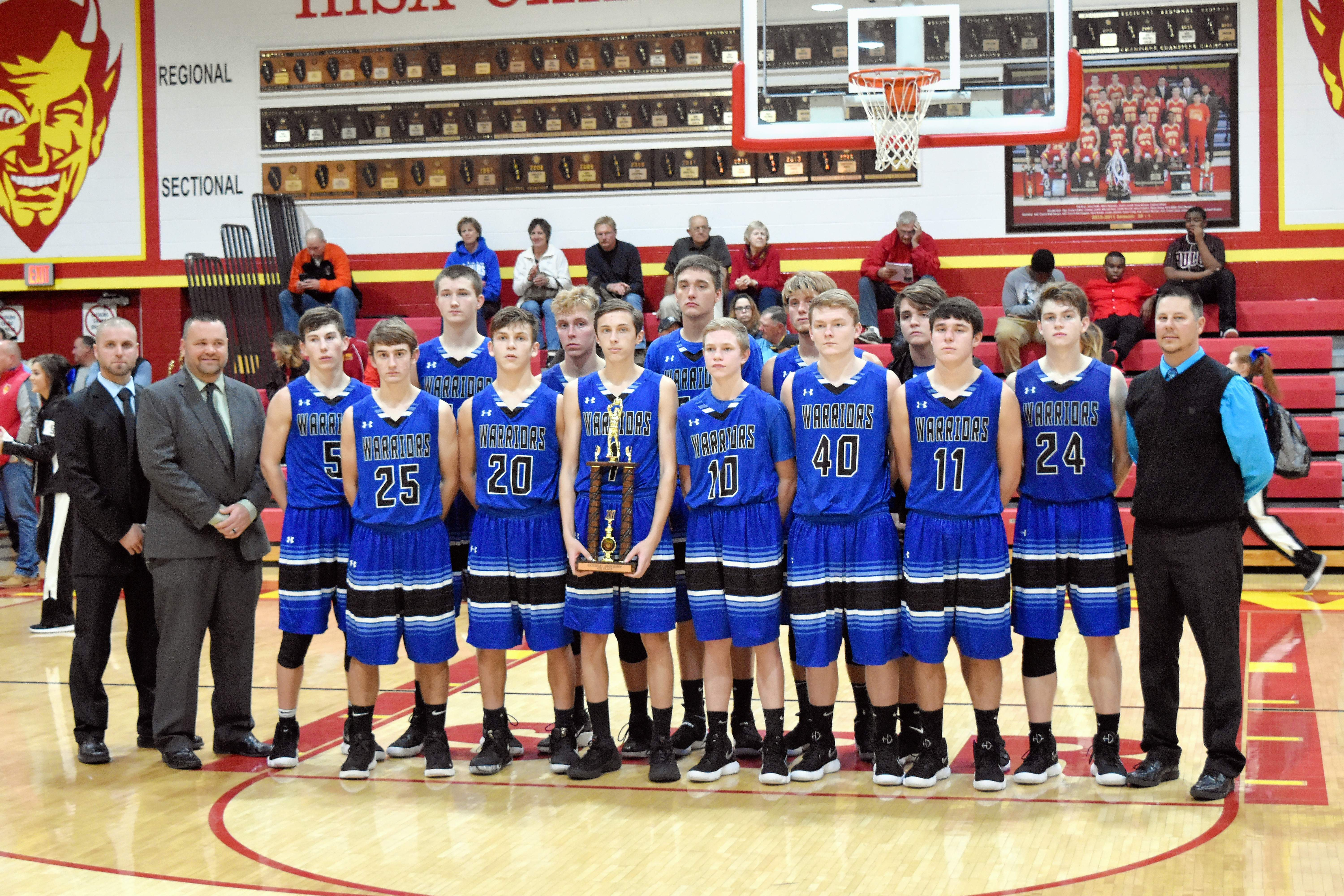 The Steeleville Warriors pose with their fourth place trophy.