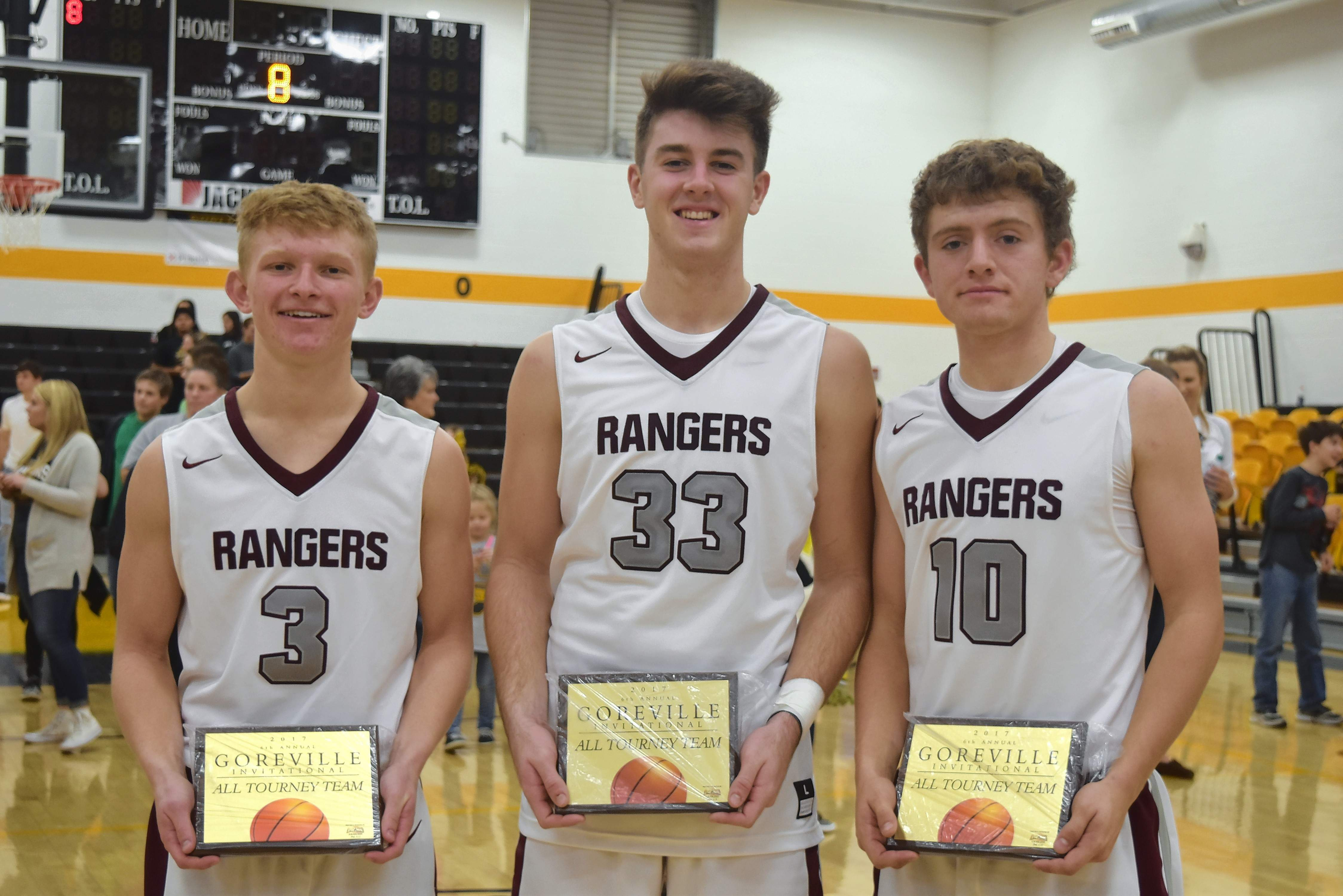 Three Benton Rangers were named to the Goreville Invitational Tournament All-Tourney team: from left, Cade Thomas, Parker Williams and Gehrig Wynn.
