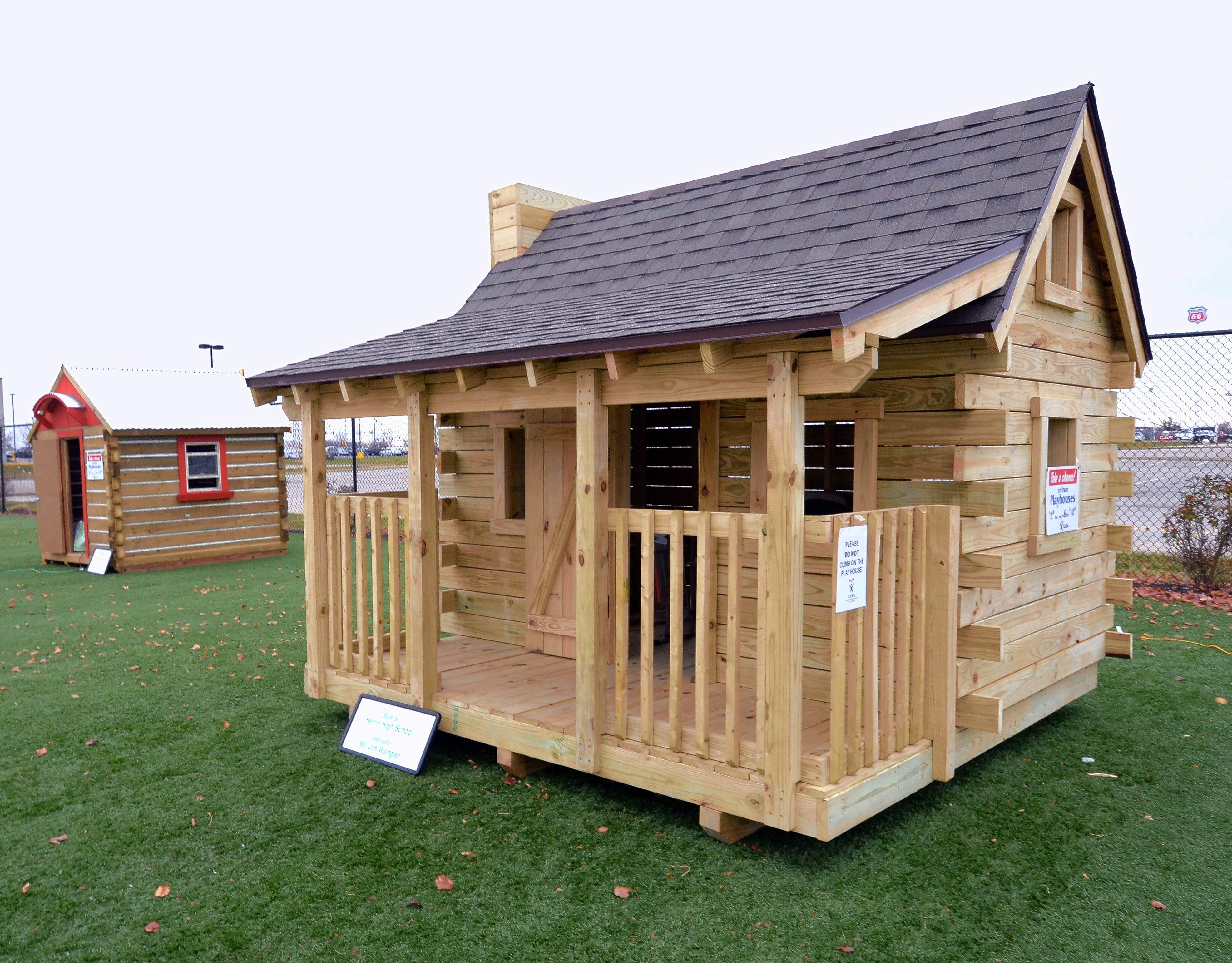 These two playhouses are among six that will be raffled off to raise money for CASA of Williamson County. The playhouses were made by high school students from Marion, Johnston City, Crab Orchard, Carterville, Herrin and Carbondale and are on display at Rent One Park.