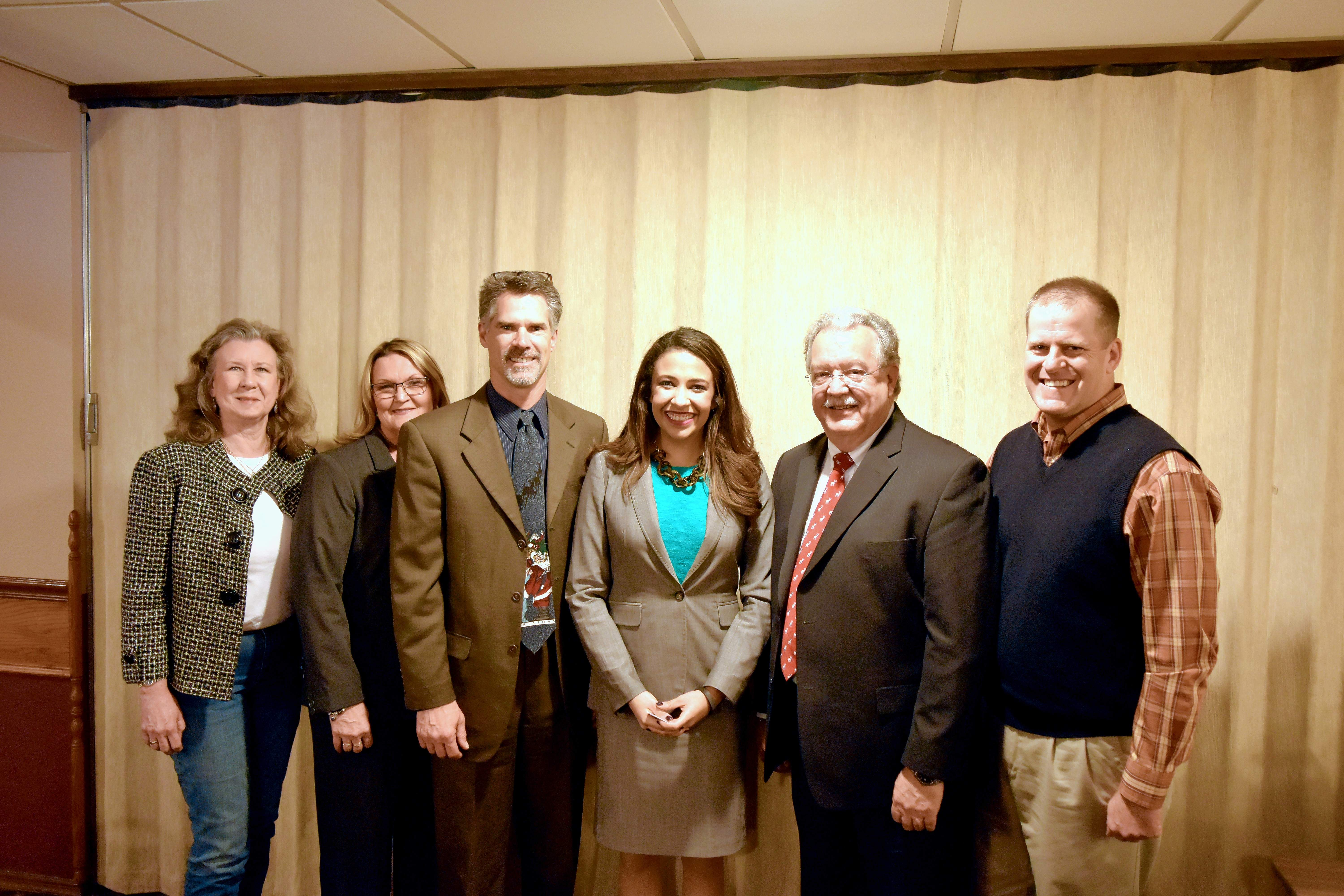 Pictured are Republican candidates Melanie Johnson (Randolph County Clerk and Recorder), Debbie Hoelscher (County Treasurer), David Friess (State Representative, 116th District), Erika Harold (Illinois Attorney General), Marc Kiehna (County Commissioner) and State Sen. Paul Schimpf (R-Waterloo).