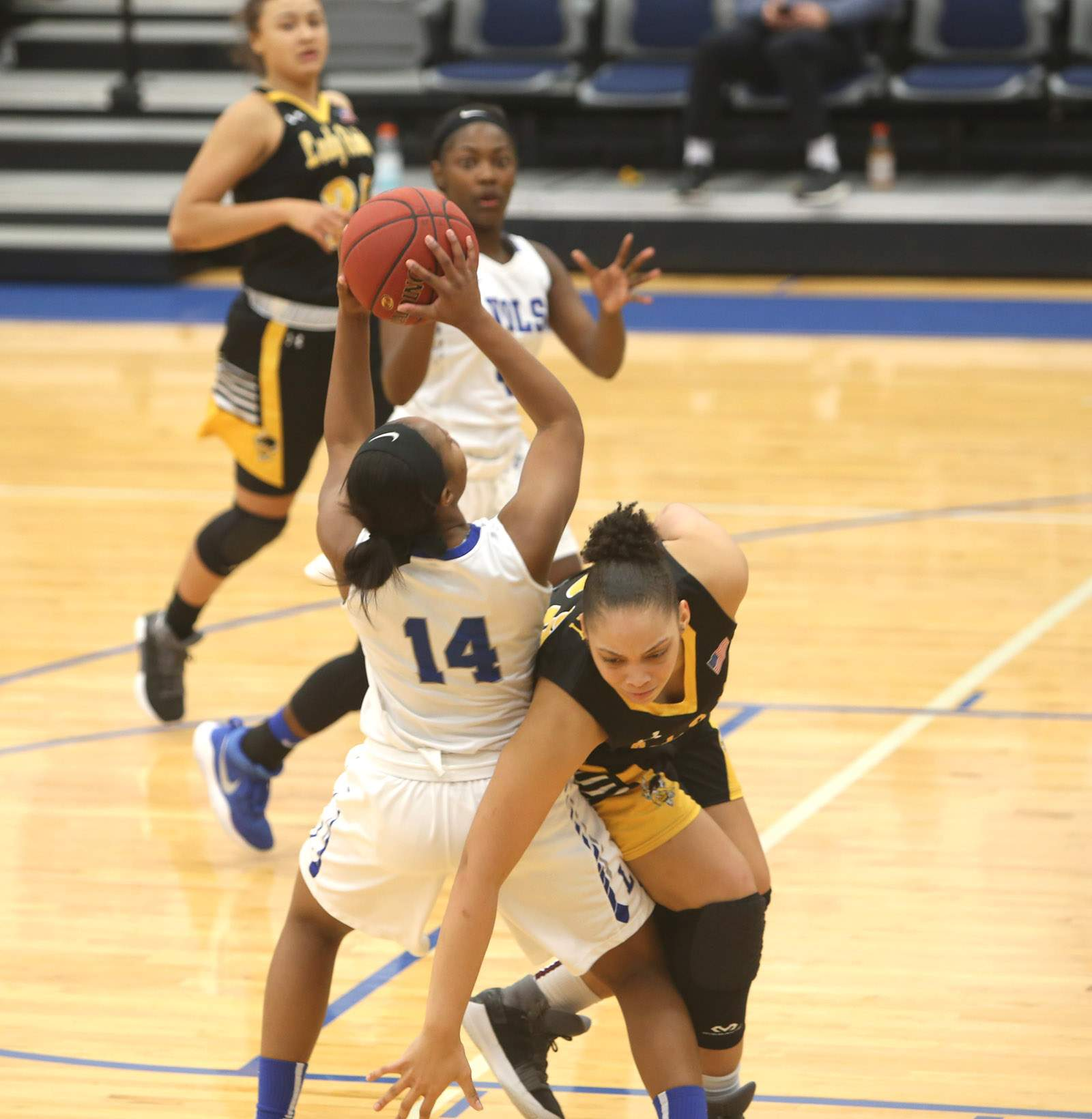Destiny Cozart draws a foul.