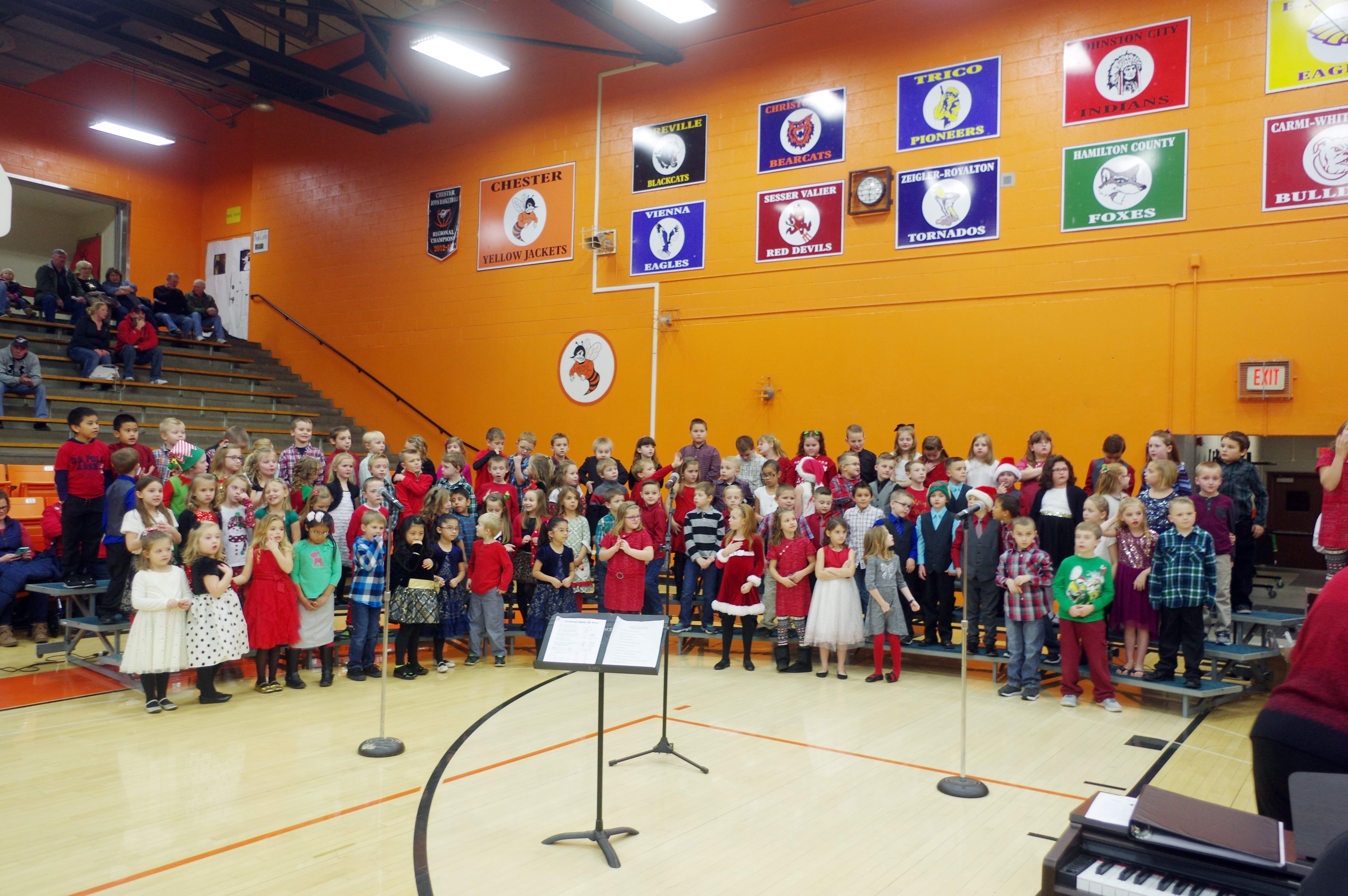First and second graders prepare to perform at the Chester Grade School 1st through 4th Grade Christmas Program on December 14 at Chester High School's Colbert Gymnasium.