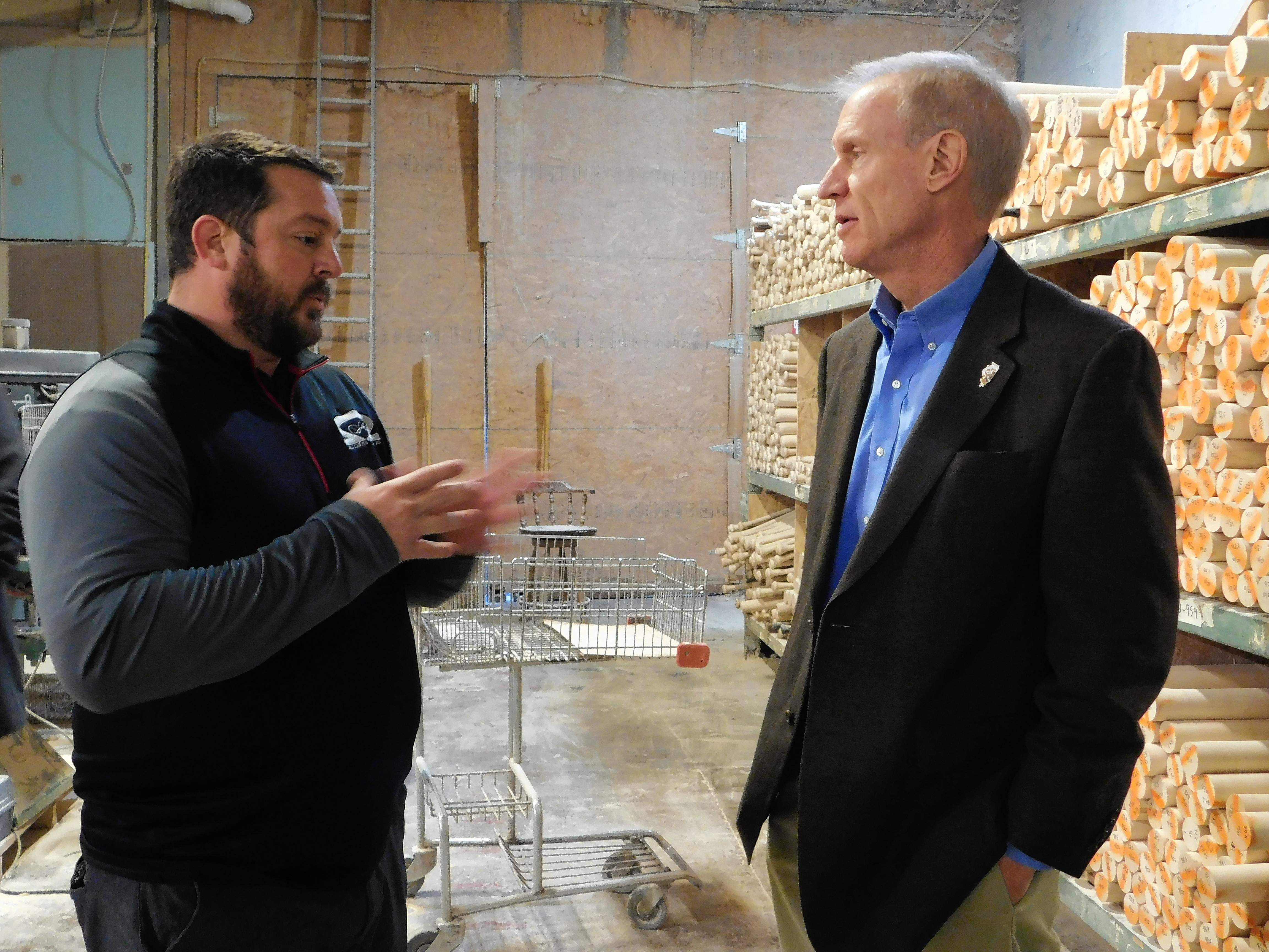 "Kyle Drone, one of the owners, explains the plant operations to Gov. Bruce Rauner, who visited the small business during an economic tour.  ""This is the foundation of our economic prosperity,"" said Rauner.  ""It's important to help small business grow."""