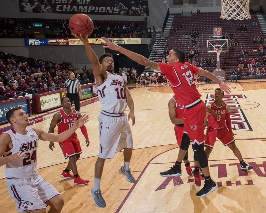 SIU guard Aaron Cook makes a layup Sunday afternoon against Lamar.