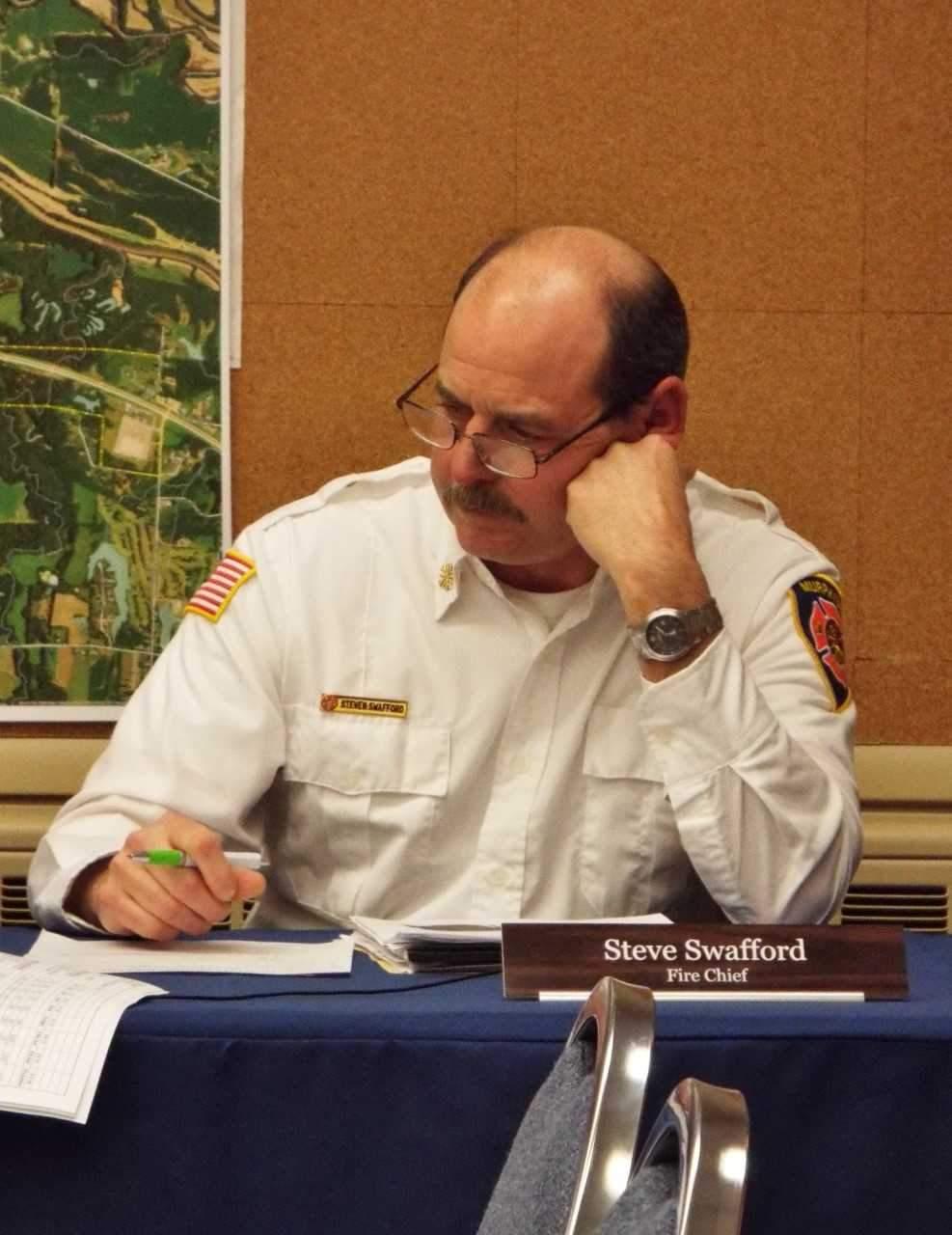 Murphysboro Fire Chief Steve Swafford listens as the council votes on his raise.