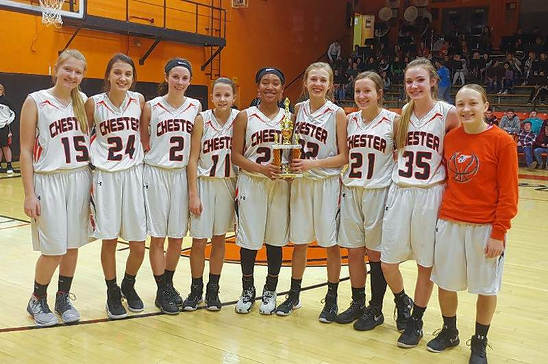 The Chester High School Lady Jackets placed 3rd in the 2018 Lady Jackets Mid-Winter Classic Basketball Tournament. The Jackets won in Game 1 against Valmeyer by a score of 59-22, then fell to Marissa-Coulterville in the Semifinals, 38-33. They secured the 3rd Place trophy in Game 3 by defeating Elverado, 49-41. Pictured (left to right) with their trophy are: Katie Shinabargar (15); Reese Chandler (24); Taylor Dunning (2); Kendall Williams (11); Destiny Williams (22); Josie Kattenbraker (32); Peyton Clendenin (21); Audrey Hopper (35); and Abby Myers 14). The Lady Jackets are coached by Pat Knowles, Head Coach and Assistant Coaches Jennifer King and Rick Powley. Jim Beers Photo
