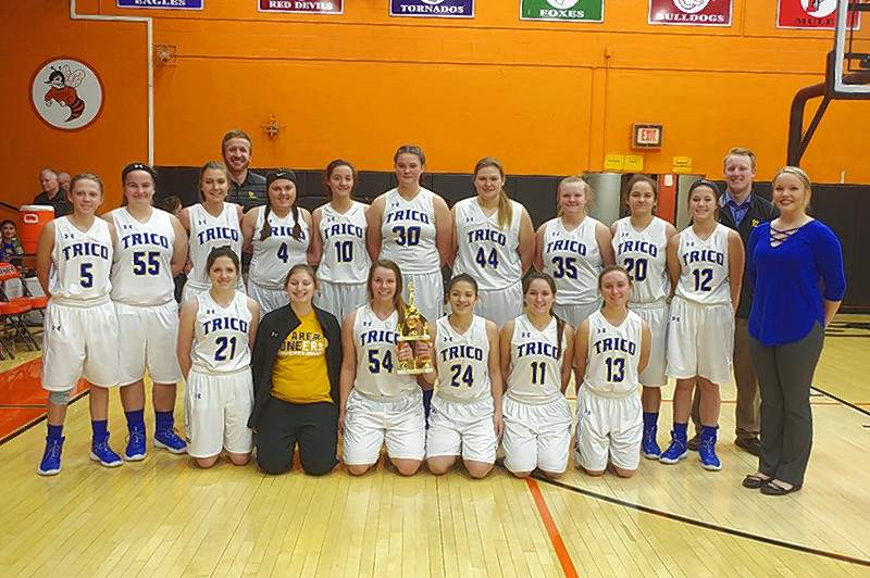 The Trico Lady Pioneers were the Consolation winners of the 2018 Lady Jacket Mid-Winter Classic Basketball Tournament. The Pioneers earned their title by falling to the Elverado Lady Falcons in Round 1, 51-29, and then beating Sparta in the Consolation Championship game, 61-43. Pictured here are Lady Pioneers with their trophy. Jim Beers Photo