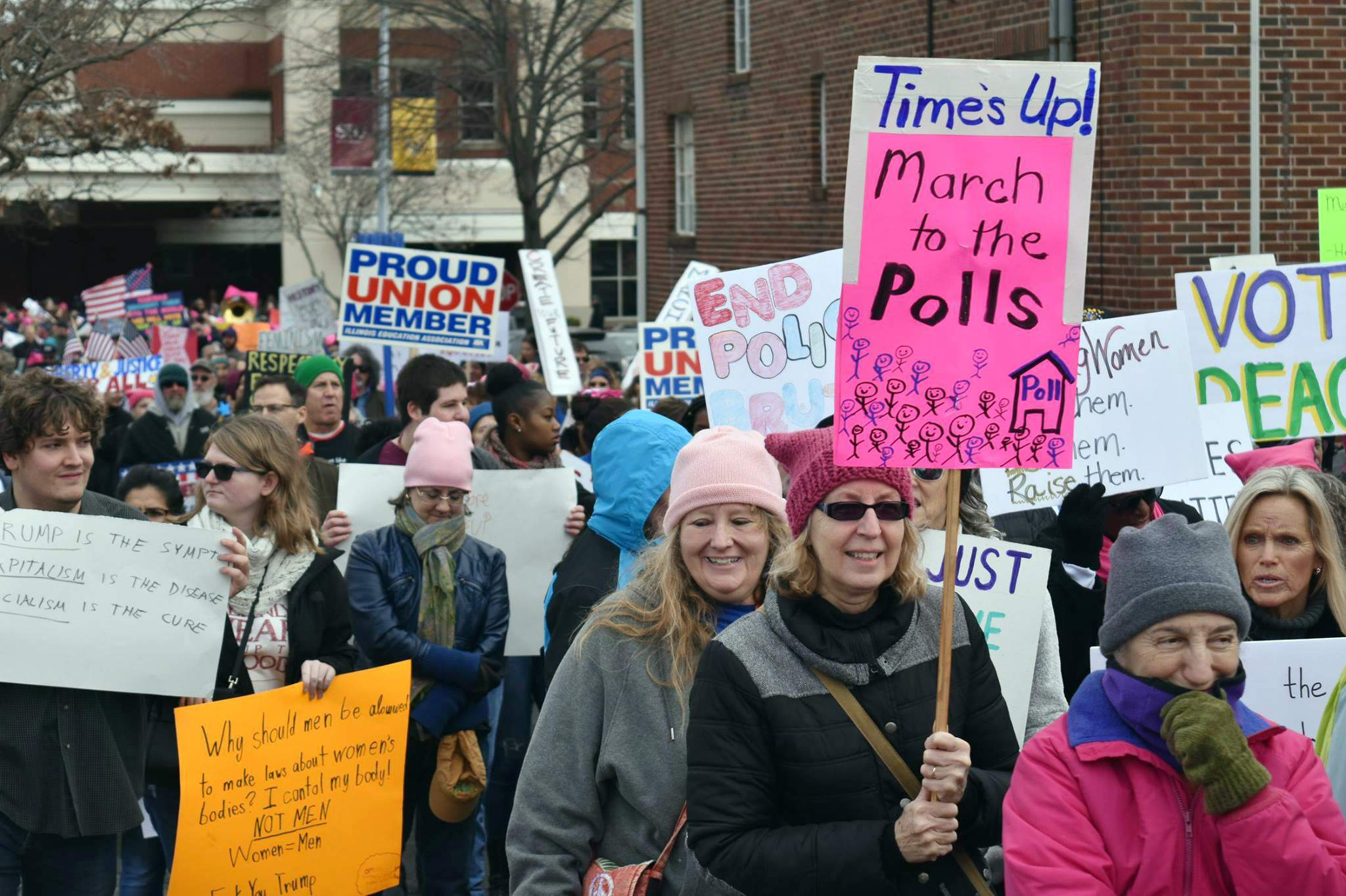 """A woman holds a """"March to the Polls"""" sign during the Southern Illinois Women's March in Carbondale. Hundreds turned out from across the region to participate."""