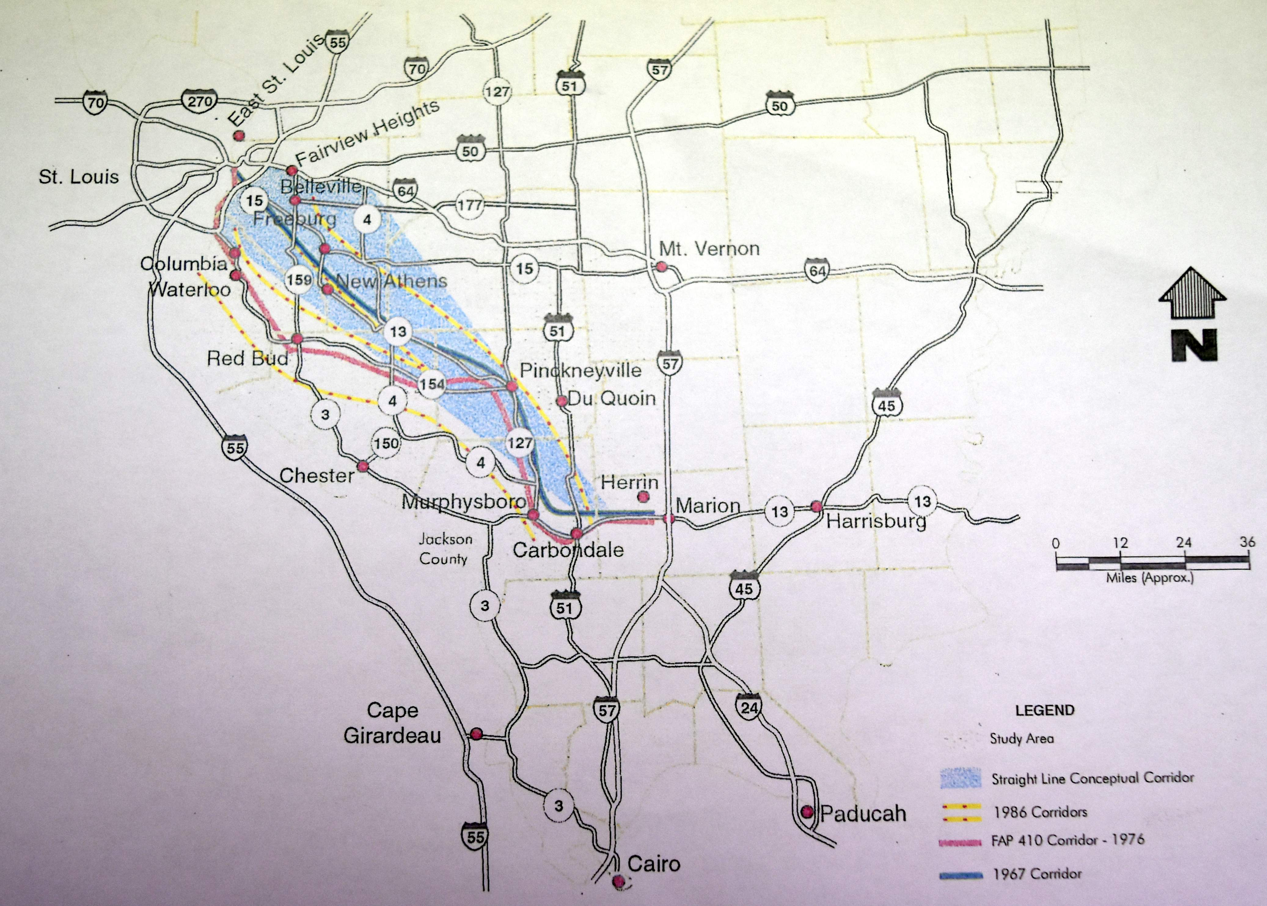 This map shows the Jackson County to St. Louis Metro East corridor that was studied for a four-lane highway in 1967, 1976, 1986, 1995 and 1996. It was previously known as the Southwest Illinois Tollway.