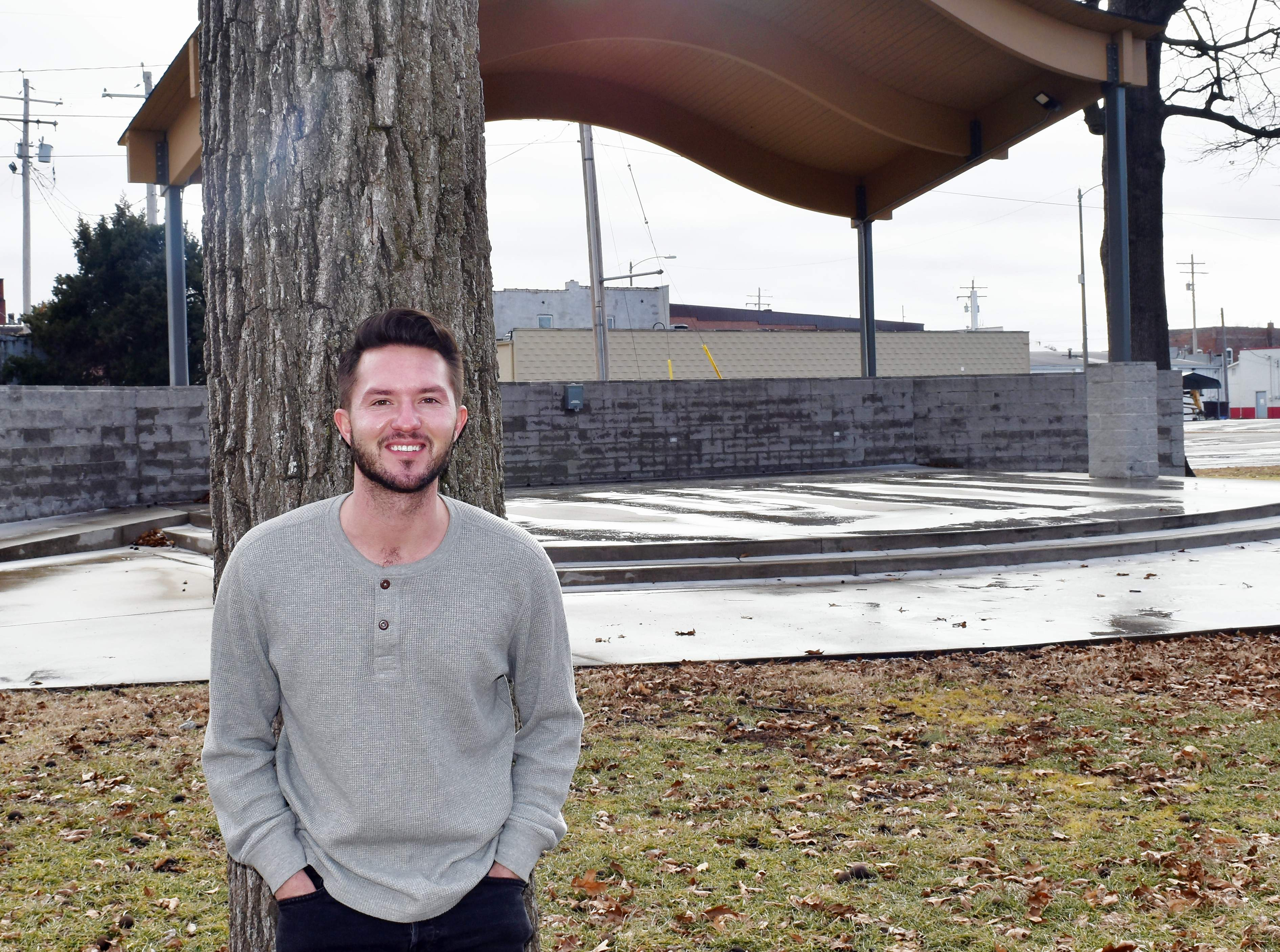 Du Quoin Chamber of Commerce Citizen of the Year Dane Mason is shown near the stage at Keyes City Park. Five years ago, Mason approached the city about bringing entertainment to the park and stage, and he now organizes concerts, vendors and other activities at the park.