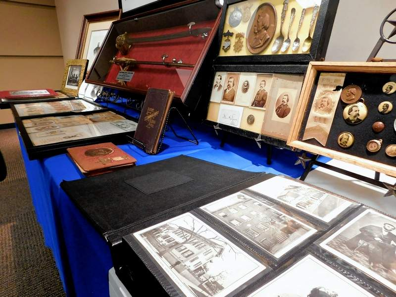 Joe Sprague's collection of historical memorabilia including items related to Abraham Lincoln and the sword of Gen. John A. Logan were on display at Tuesday's Benton Rotary Club meeting. The items will be displayed for sale at County Seat Antiques on the Benton Square.  Sprague has valued the sword at just under $60,000.