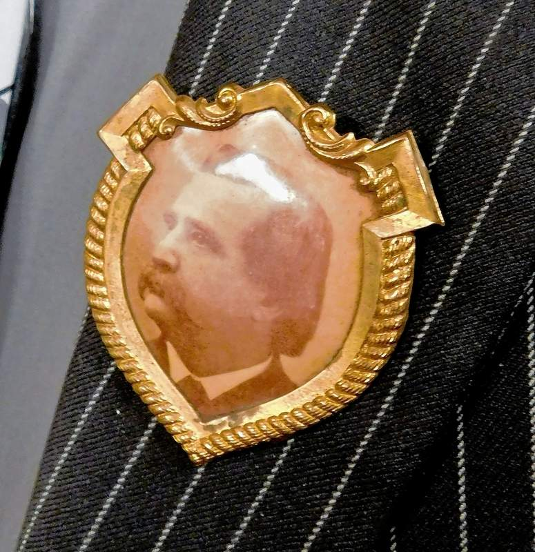 'This is the button that started it all,' said Joe Sprague, who is parting with his collection of Gen. John A. Logan memorabilia he started in 2005. The collection, including one of Logan's swords value at just under $60,000, will be on display for sale at County Seat Antiques in Benton.