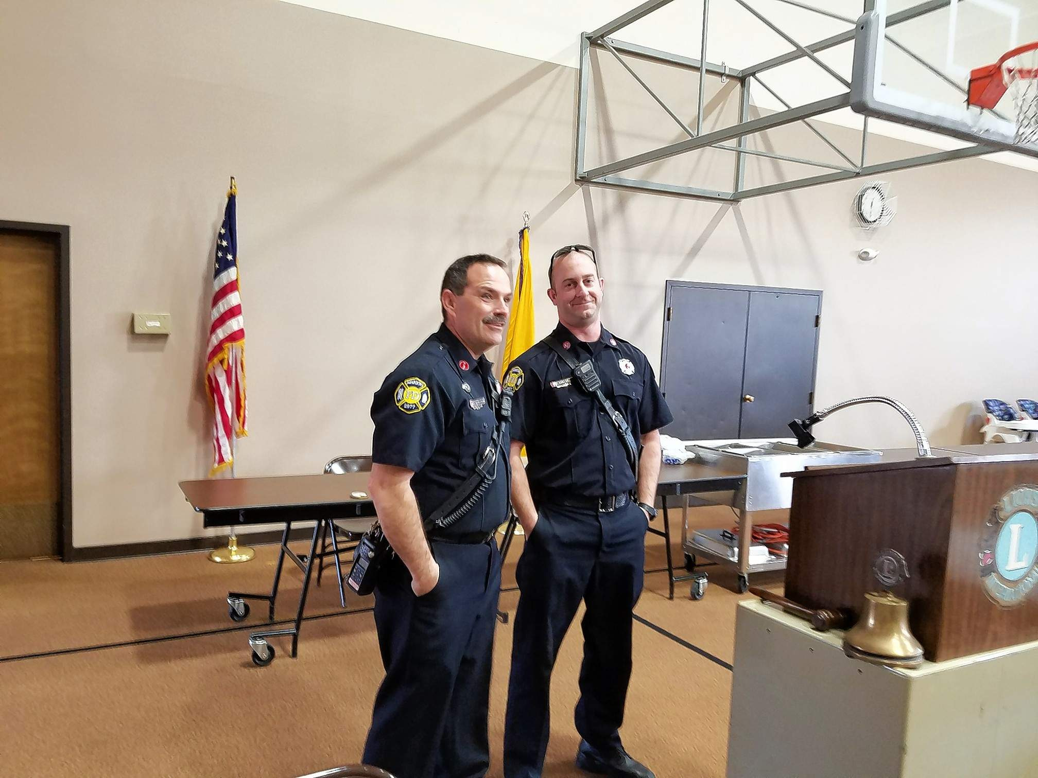 John D. Homan photoMarion firefighters Leo Whitehead (left) and Alex Robertson were the featured guests of the Marion Lions Club Wednesday. They discussed fire safety programs that they present to third-graders in the school district.