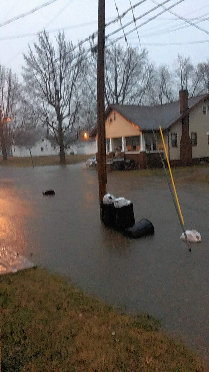 Water covered the road at the Intersection of South Buchanan and Dennison streets in Marion.