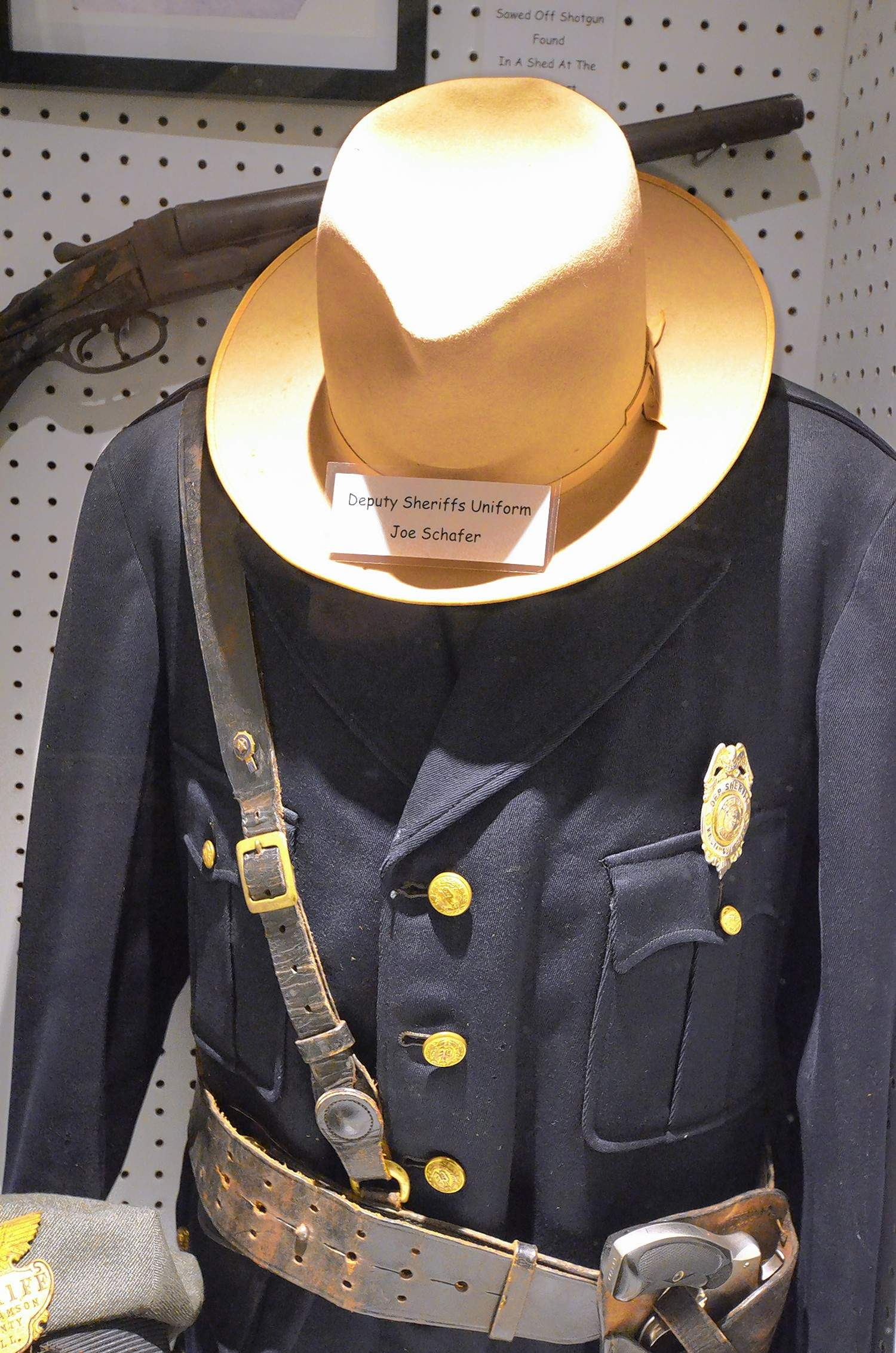 This uniform that once belonged to Williamson County Deputy Sheriff Joe Schafer is among the many items housed in the Historical Society's museum in downtown Marion. Schafer's hat shown here was recently donated to the museum by Schafer's descendants.