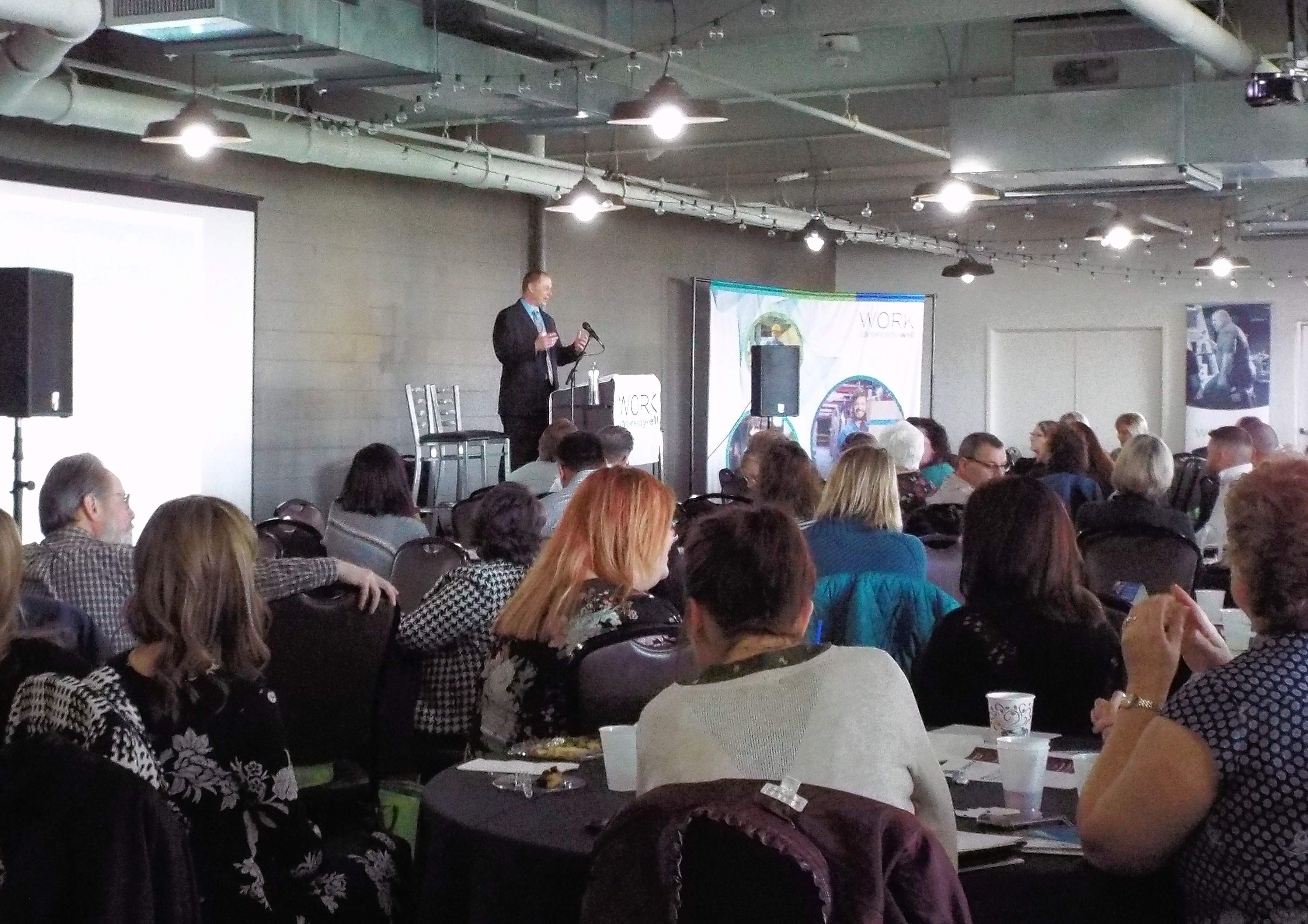 Shawn Berry wraps up his keynote address at Thursday's SIH-sponsored workers' compensation symposium in the Diamond Club at Rent One Park in Marion.