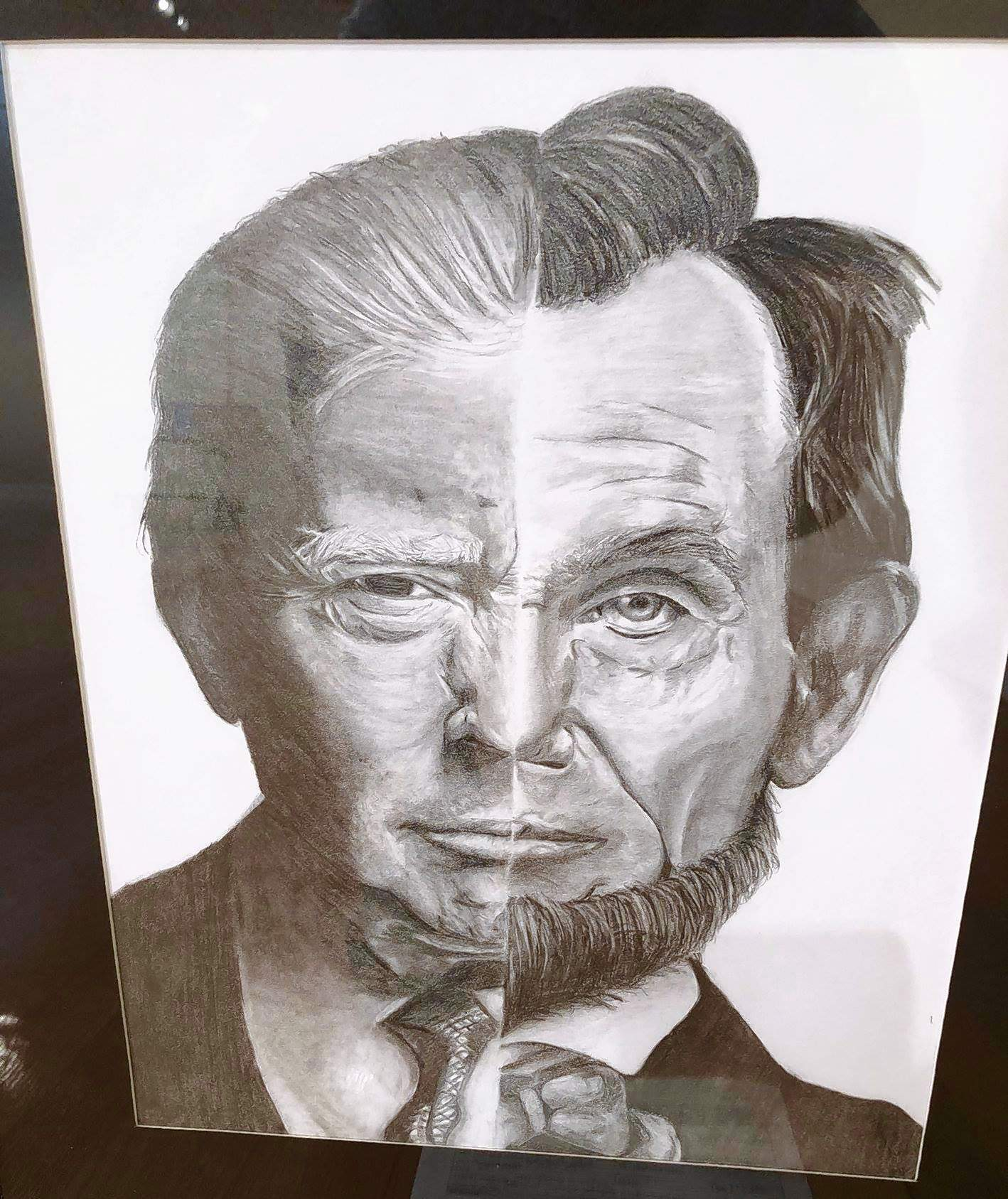 """Fallon Dawson earned a 3rd place in the 12th Congressional Art Show with her pencil drawing titled """"157,"""" a pencil drawing of presidents Abraham Lincoln and Donald Trump."""