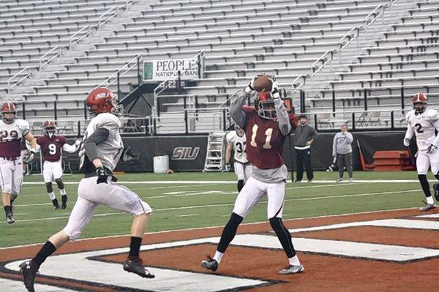 SIU's Raphael Leonard led SIU's wide receivers with 142 yards on only six catches during last Saturday's scrimmage.