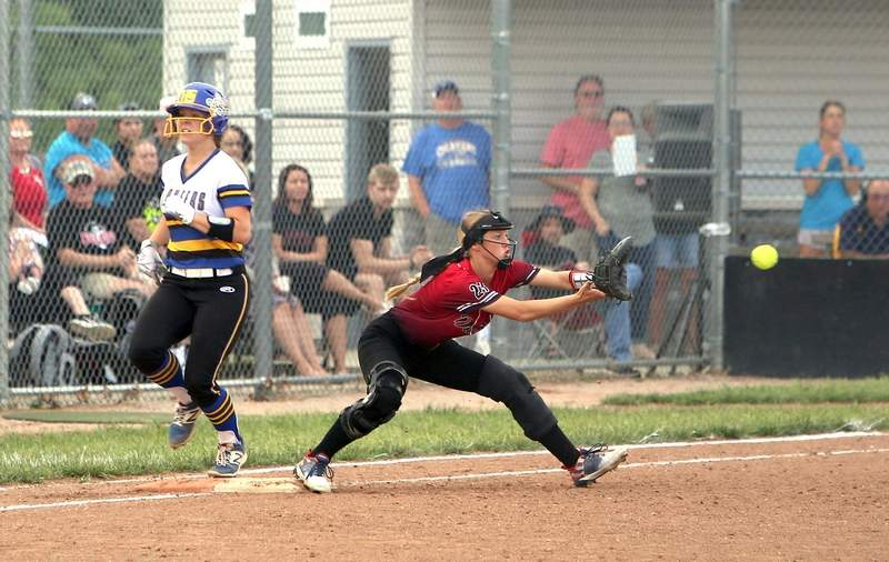 Juhle Prange beats the throw to Grace Haney, producing the only runs of Monday's game.