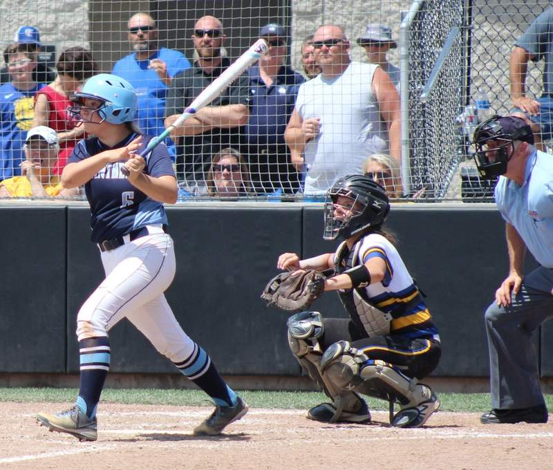 Megan Mayo ties the game at 1-1 with a home run to center field in the fifth inning.