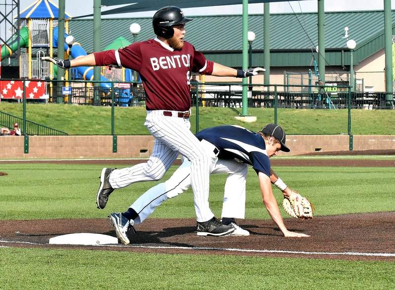 Benton High School's Ian McMahon crosses first base at GCS Park in Sauget on Monday. McMahon was called out, although it appeared Teutopolis' first baseman missed the bag.