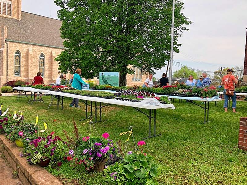 People browse through the offerings at the fifth annual Lutheran Women's Missionary League Flower Sale on May 4, on the front lawn of St. John's Lutheran School. The weather cooperated for the annual sale, which offered hanging baskets, 4-inch and 5-inch pots, bedding plants, 12-inch planters, and a variety of tomato, cabbage and pepper plants.