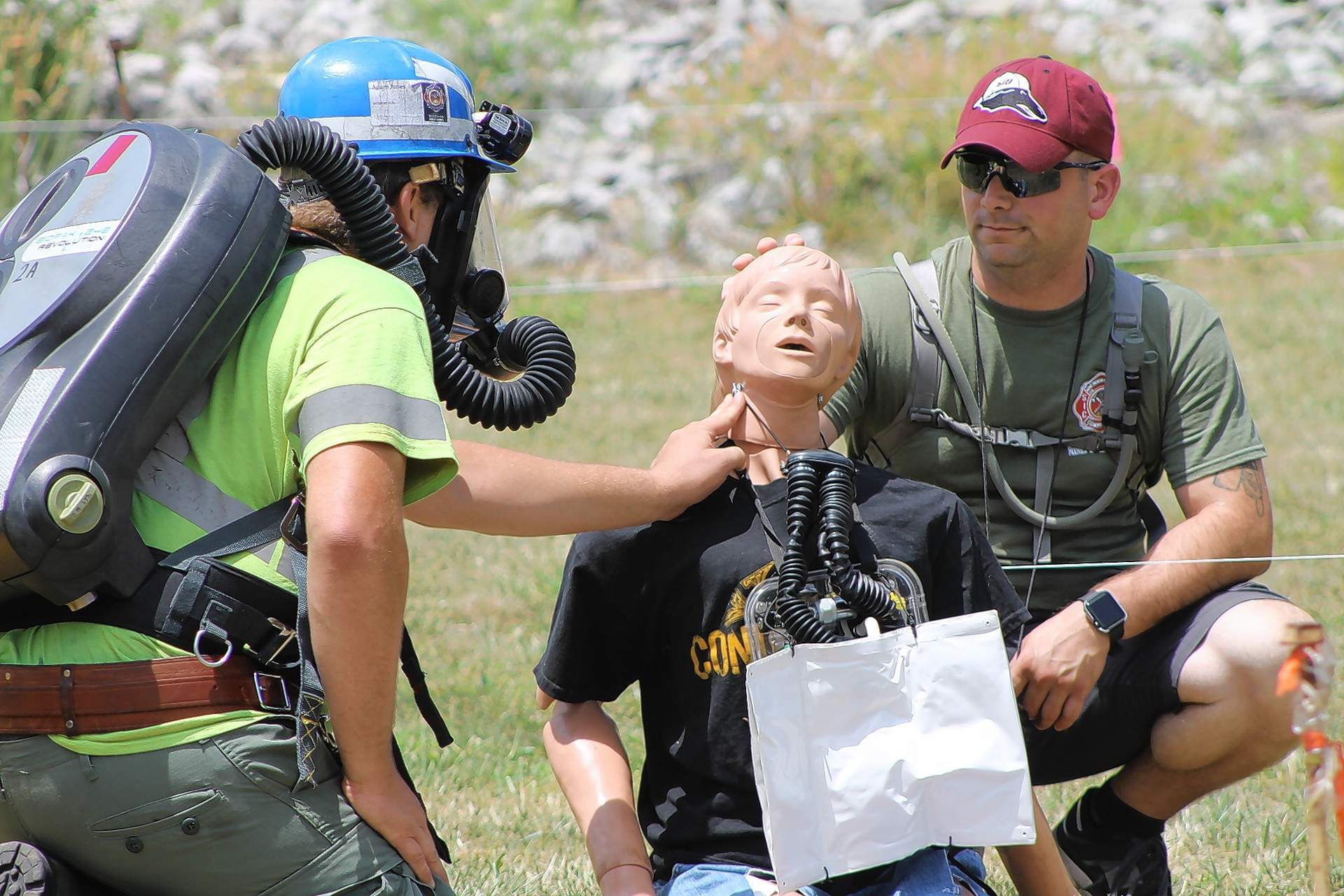 "The Wildcat Hills Team from Equality examines a ""miner down"" during a first-aid exercise at the 2017 Mine Rescue and Skills Competition at SIC."