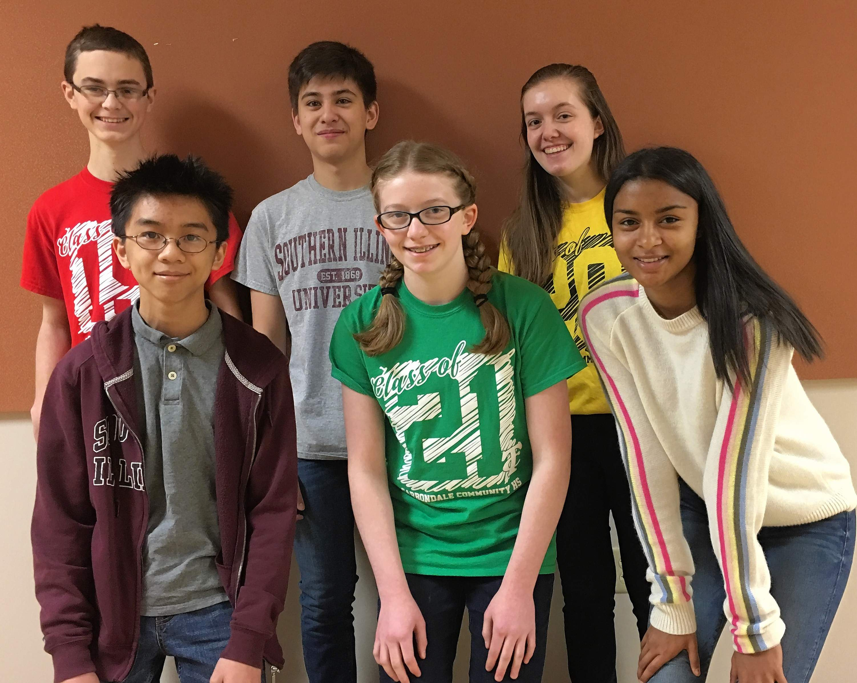 The 2018 scholarship winners for the Garwin Family Foundation's Carbondale Community High School (CCHS) Student Sponsorship Program for Talented Students in the Arts, Sciences and Math are (back row) Ian Kinsel, Eli Tsung, Gabriela Benyas, (front row) Charlie Du, Maya Benyas and Aisha Ruperto.