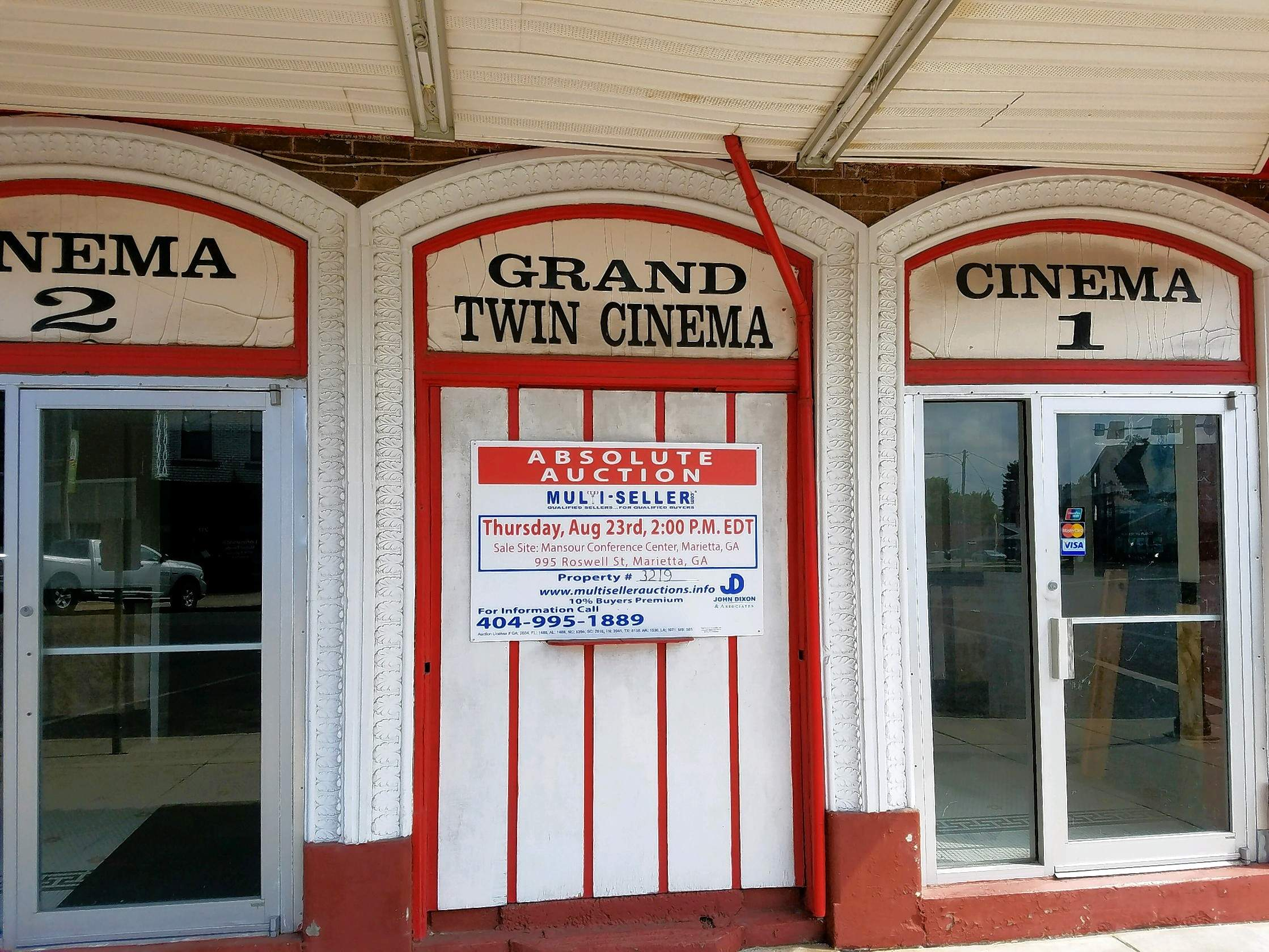 An auction sign went up this week on The Grand Theater, a Du Quoin landmark for over a century.