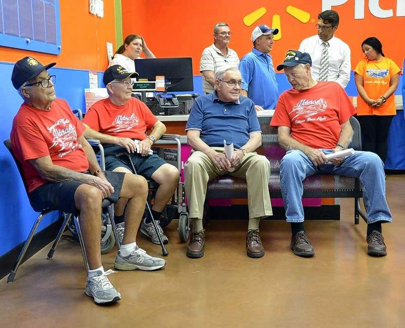 On hand lending their support for the next Veterans Honor Flight of Southern Illinois Wednesday were left to right: Albert Saliba, Herrin, Joe Baxter, Marion, Jack Murray, Marion and Virgil Lukens, Herrin. The four men were part of previous honor flights.
