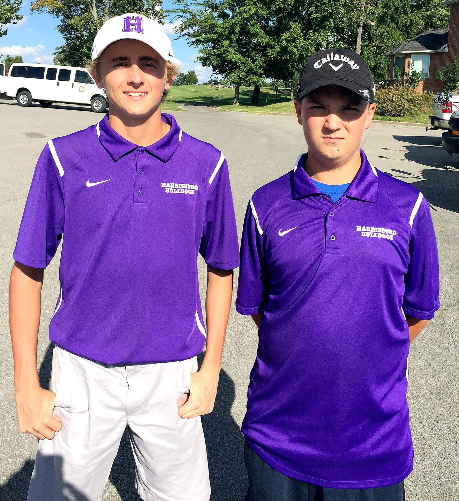 Harrisburg's Andrew Bittle (left) and Ashton Hall will represent HHS at next week's IHSA Class 2A Sectional, which will be played at Hickory Ridge Golf Course in Carbondale.