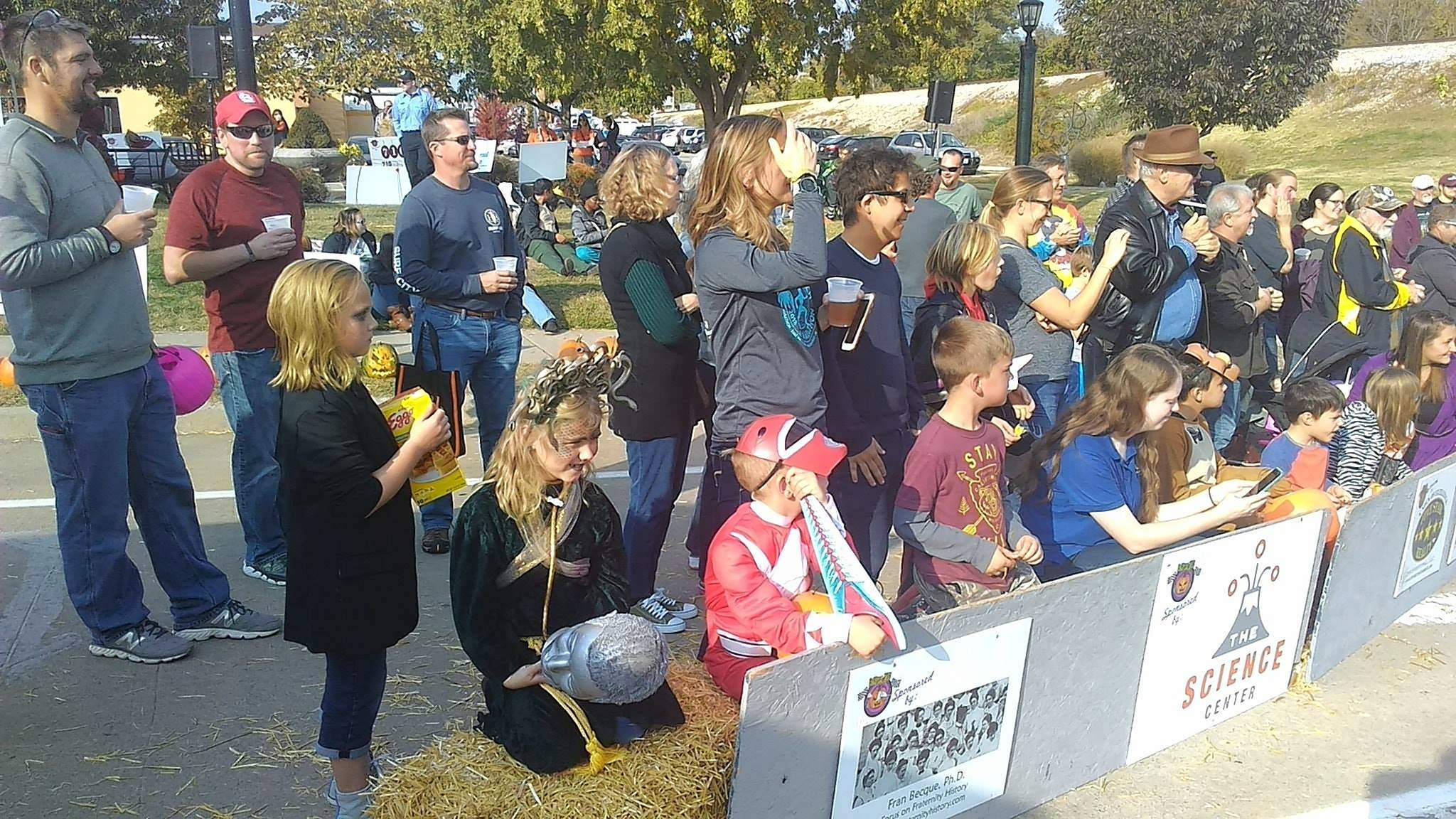 An eager crowd looks on at this year's pumpkin races.