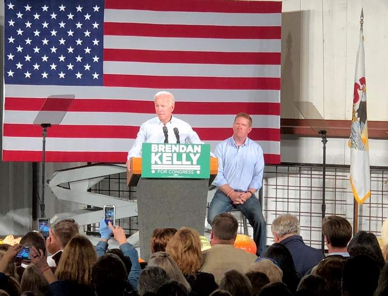 Former Vice President Joe Biden, in front of Brendan Kelly. speaks to the crowd in the East St. Louis union hall.