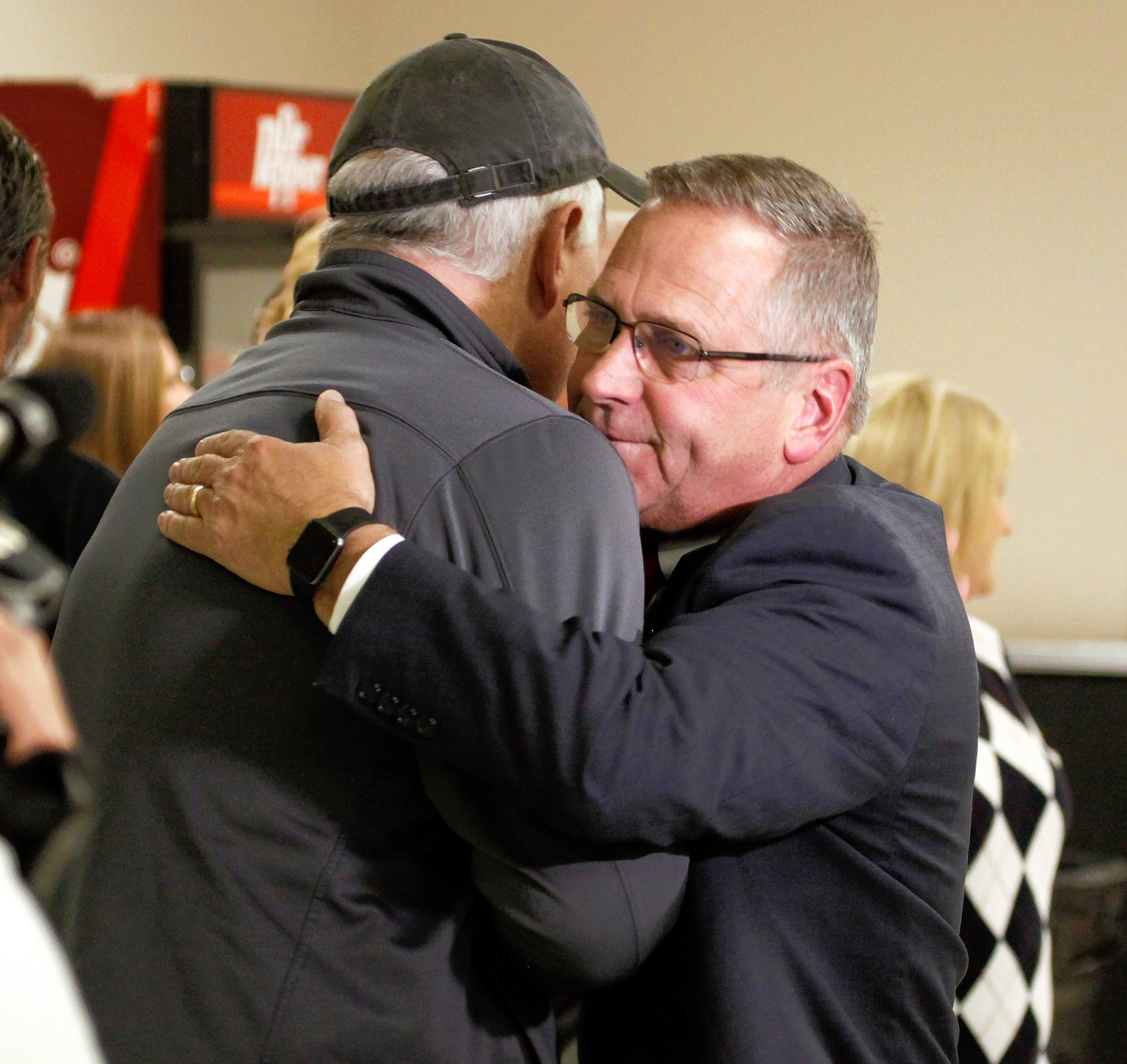 Mike Bost is congratulated by a supporter at the Murphysboro Elks Club Tuesday night.