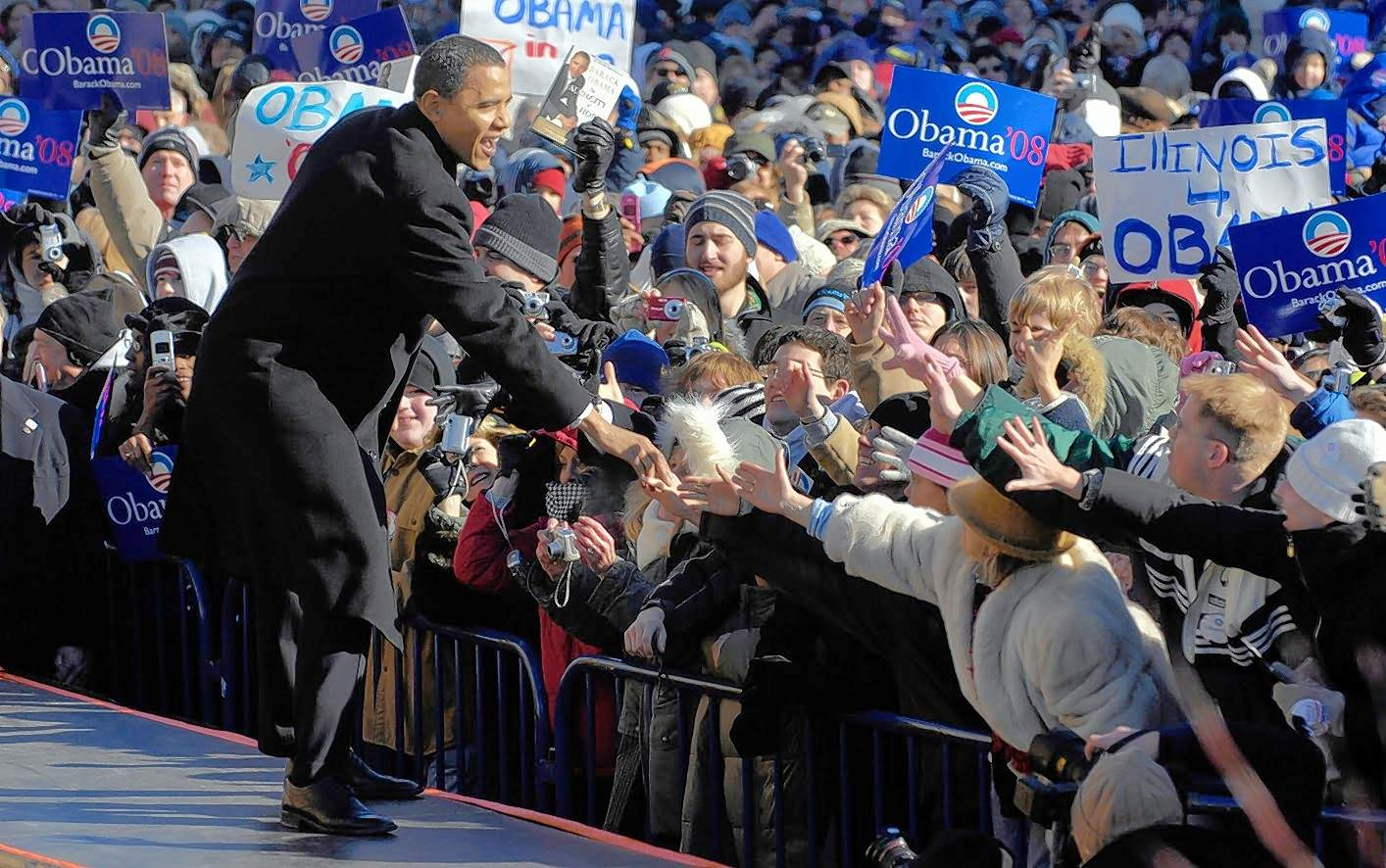 U.S. Sen. Barack Obama, D-Ill., greets a large crowd gathered at the Old State Capitol in Springfield on Feb. 10, 2007, moments before announcing his candidacy for the 2008 Democratic presidential nomination.