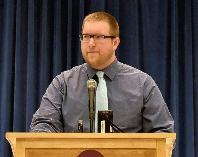 Nathan Colombo announces his candidacy for Carbondale mayor.