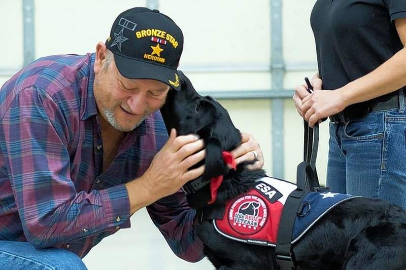 Army veteran Raymond Musgraves from Wolf Lake has benefited from a new friend, a black lab named Ryder. The connection was made through This Able Vet.