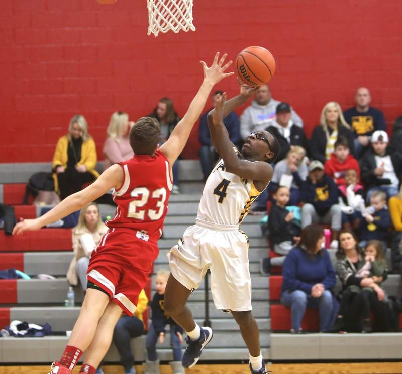 Benja Stone goes to the basket in Tuesday night's game against West Frankfort.