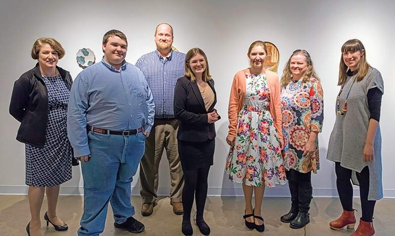 Pictured from left are Julianne Doty, instructor at Clay City High School; Brandon Fienhold of Agape Christian High School; Erik Berrey, instructor at Cobden High School; Kenzie Clerk of Carbondale Community High School; Kylie Rauch of Clay City High School; Kim Teague of Carbondale Community High School; and Lisa Janssen, executive director of Carbondale Community Arts.