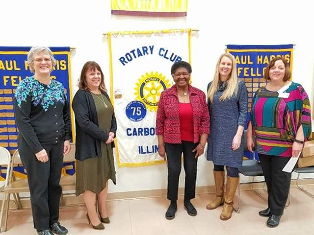 Pictured from left to right are Jane Swanson of the Diaper Bank, Tina Carpenter of the Boys and Girls Club, Ella Lacey of I Can Read, Jennifer McKinnies of Give Kids a Smile, and Angie Bailey of Camp Beta. Not able to attend were Amy Simpson of Gum Drops and Becky Needham of the eighth-grade program of the U of I Extension office.