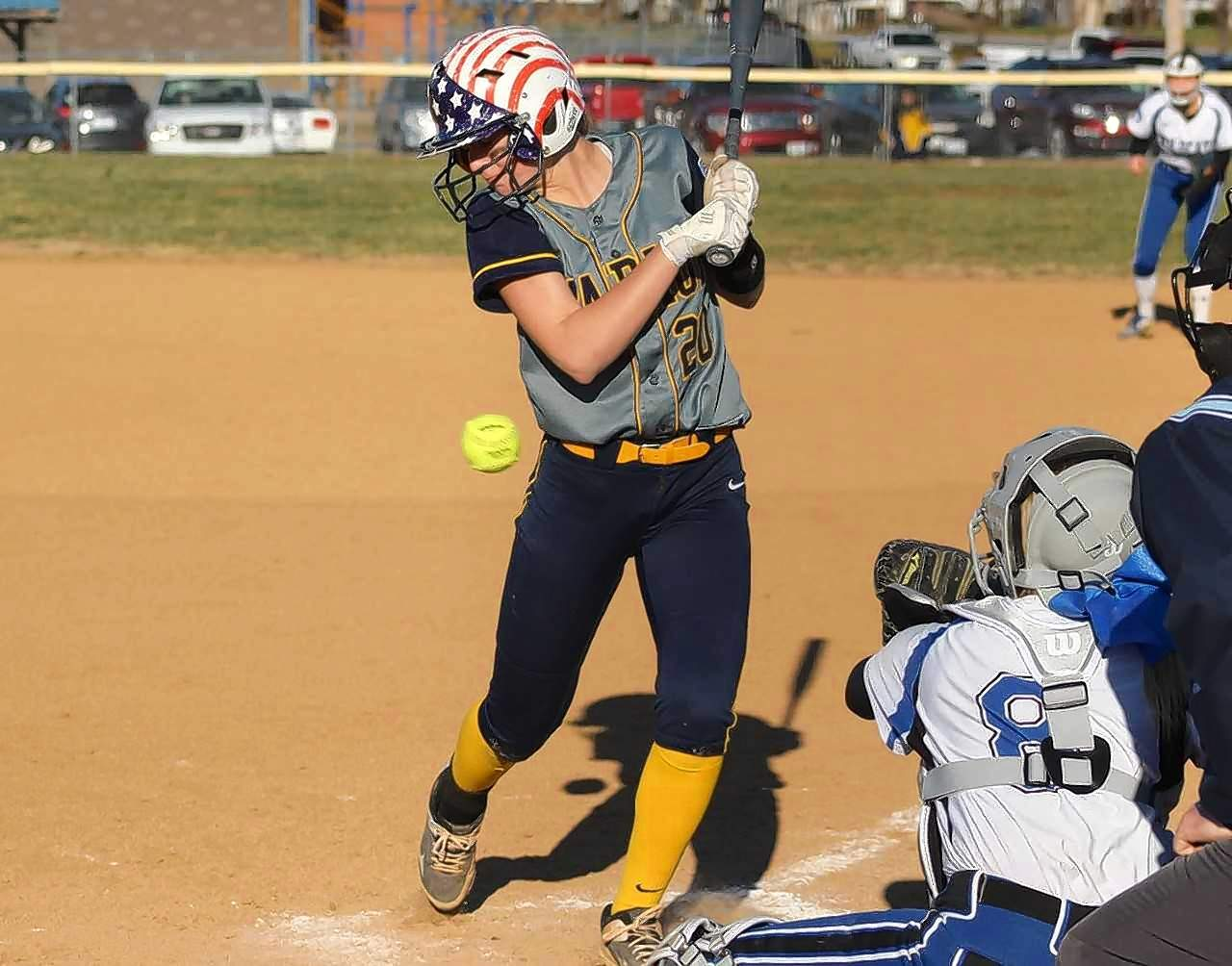 Hannah Nalley gets hit by a pitch during Friday's action against Anna-Jonesboro.