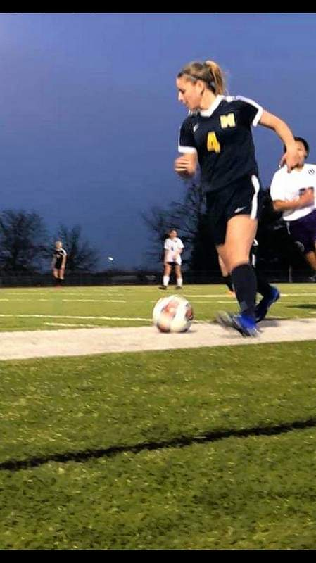Marissa Basi looks for room to operate in tournament game action this past week at Belleville Althoff. Marion won three of four matches in the Metro East.