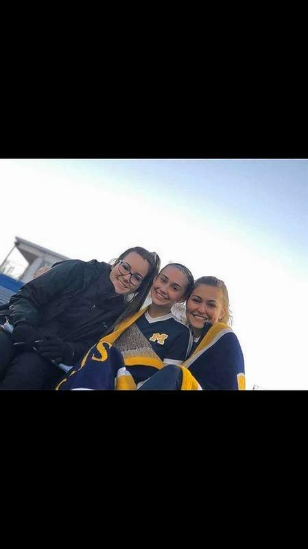 """These Marion soccer girls were """"freezing"""" from the cold temperatures this past weekend at the tourney in Belleville. Pictured are Paige Newlin, Adrianna Baysinger and Aubrey Wooten."""