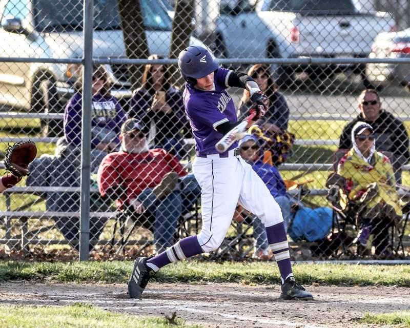 Nolan Milligan rips this base hit to left field, resulting in an RBI as Eldorado knocked off Pope County Monday at the EHS Sports Complex.